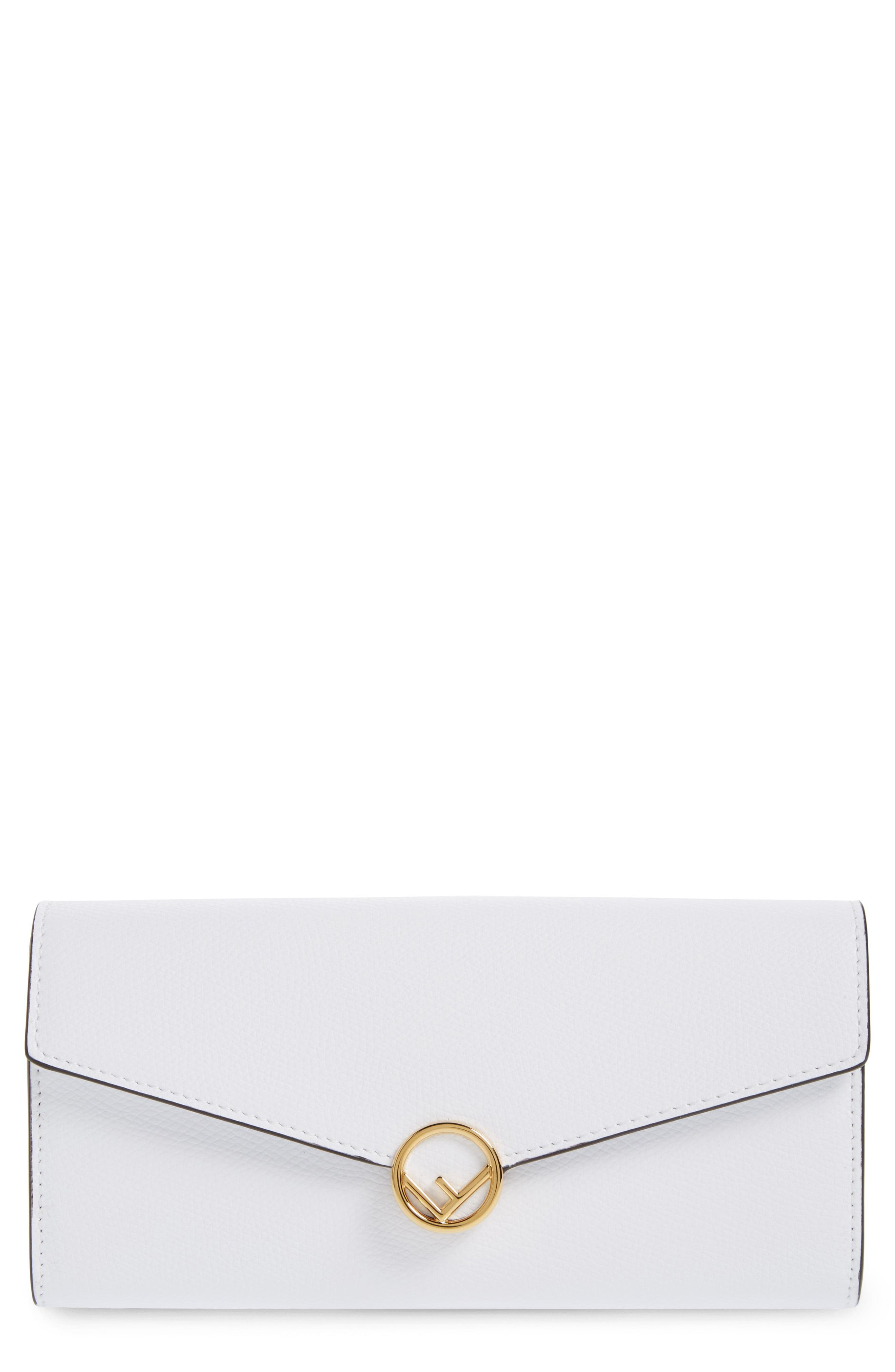 fc79d8f645aa Lyst - Fendi Logo Flap Leather Continental Wallet On A Chain in ...