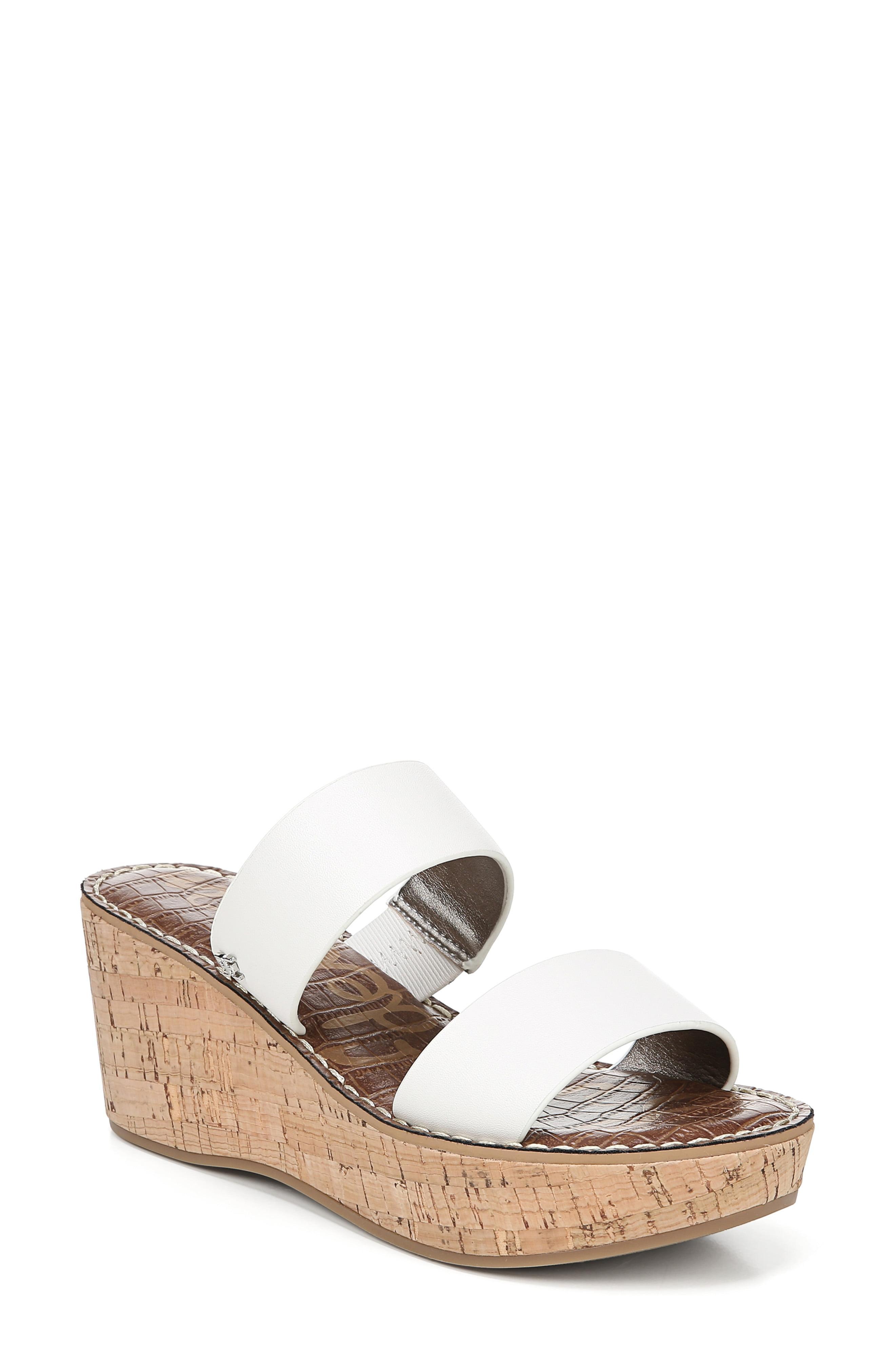 2e434a50be7 Lyst - Sam Edelman Women s Rydell Cork Wedge Heel Sandals in White ...
