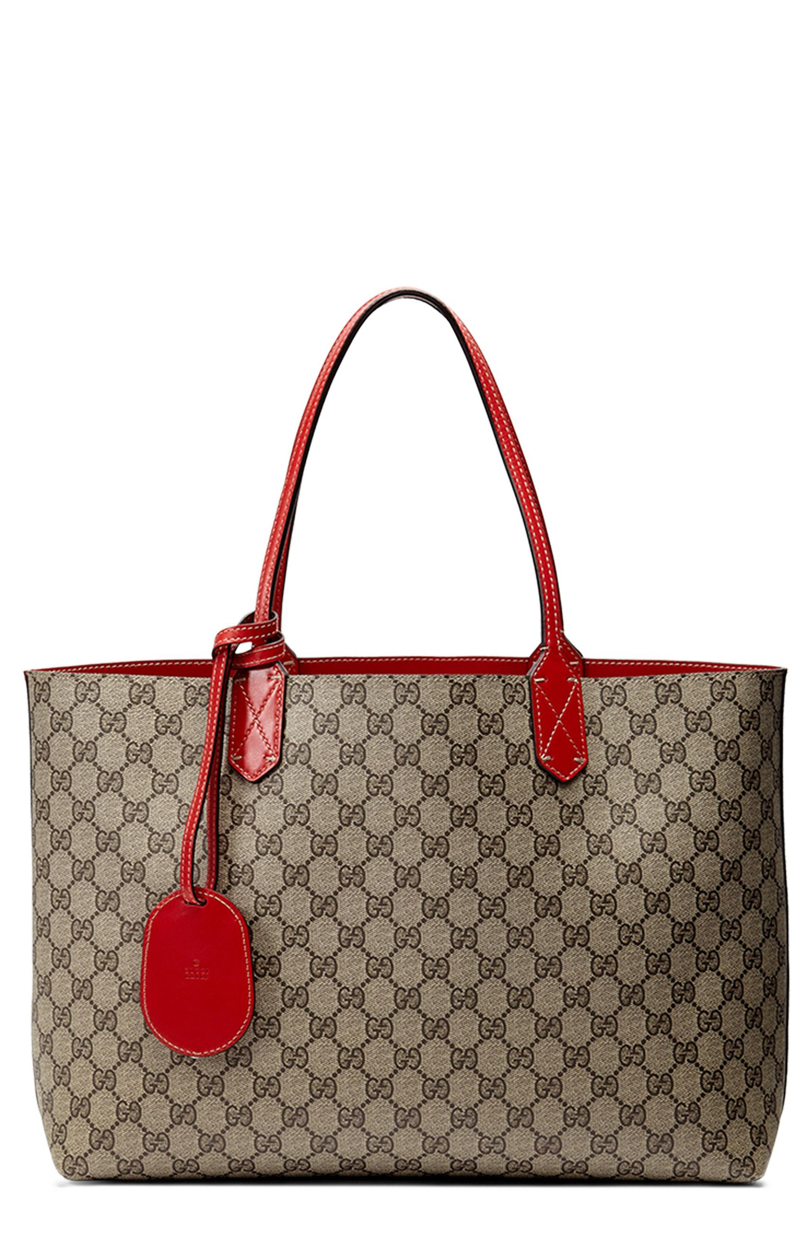 b5396416e Lyst - Gucci Medium Turnaround Reversible Leather Tote in Natural