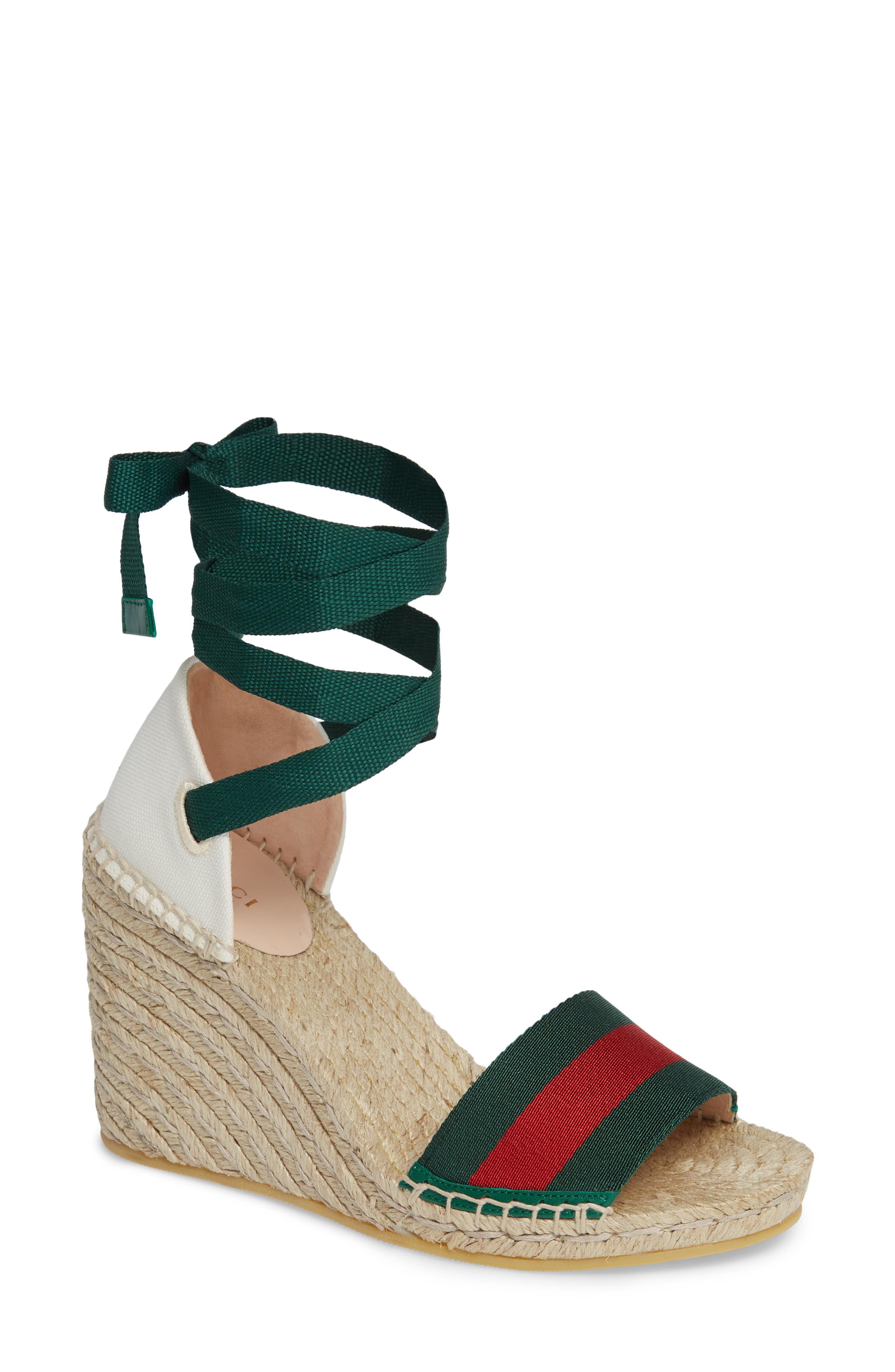 c81f03077893 Gucci - Blue Lilibeth Sylvie Web Espadrille Wedge Sandal - Lyst. View  fullscreen