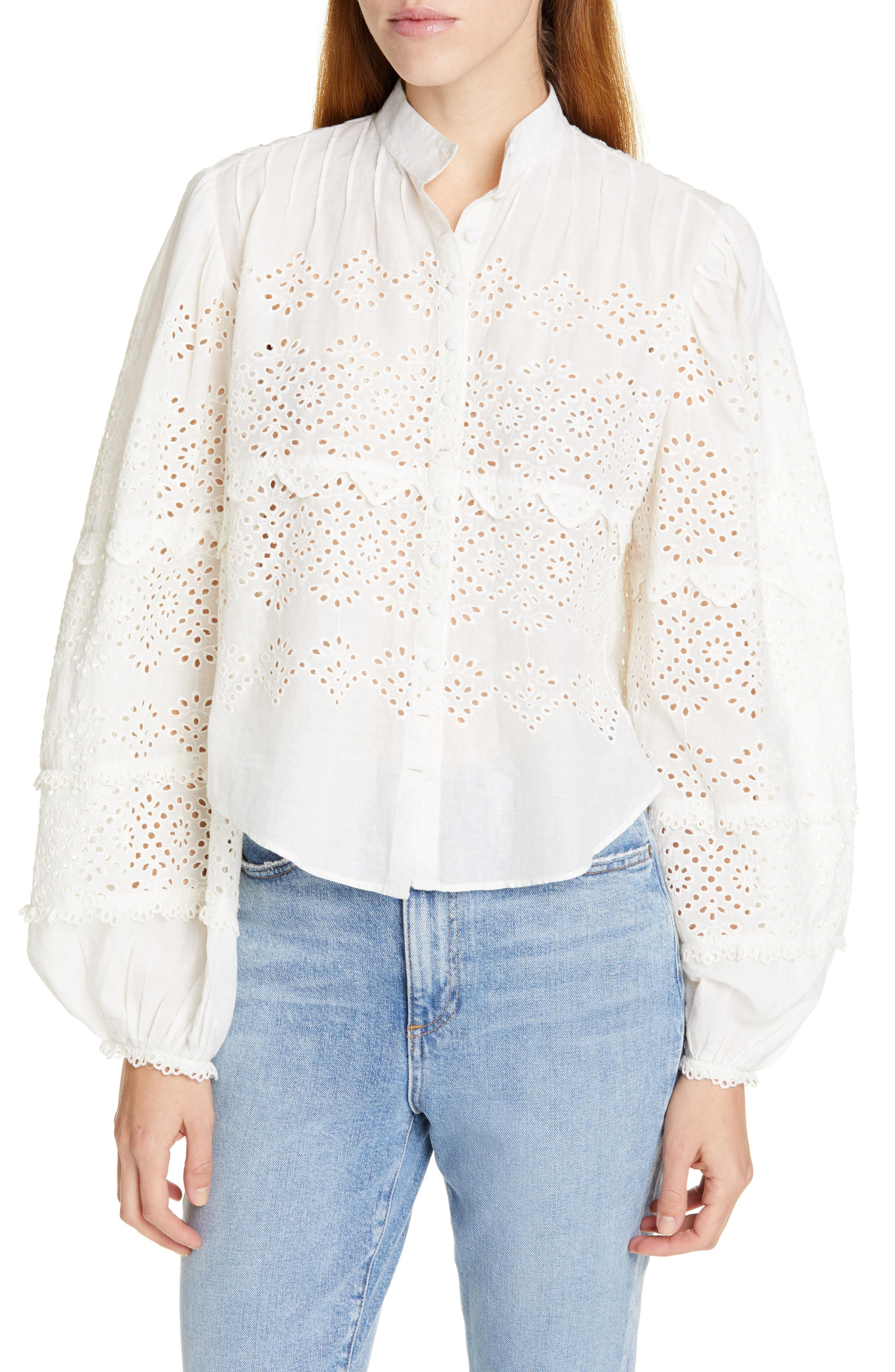 4c2b8c2b5ee8b LoveShackFancy - White Lola Eyelet Top - Lyst. View fullscreen