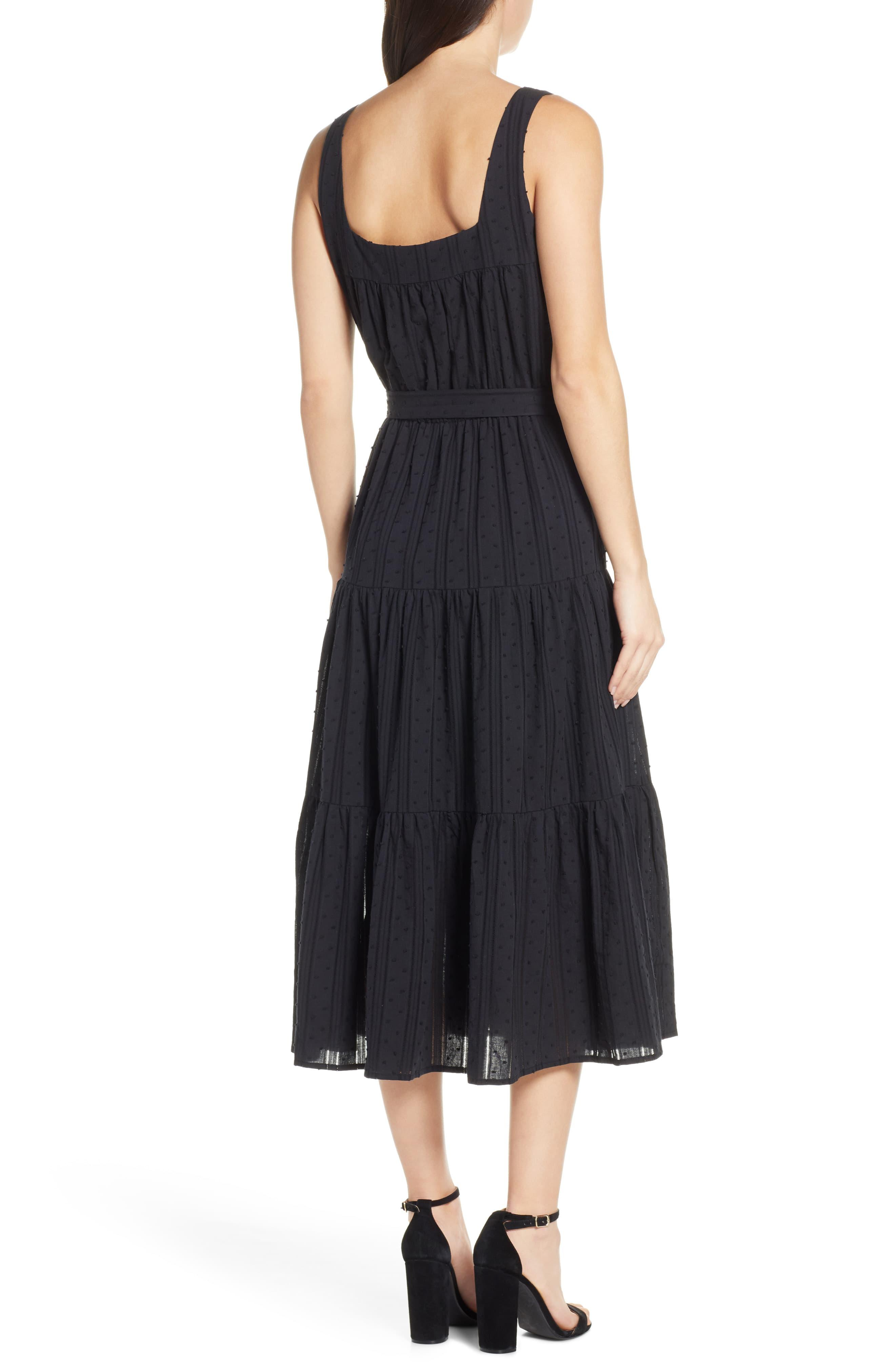 f0031d5370d4 Chelsea28 - Black Tiered Fit & Flare Midi Dress - Lyst. View fullscreen