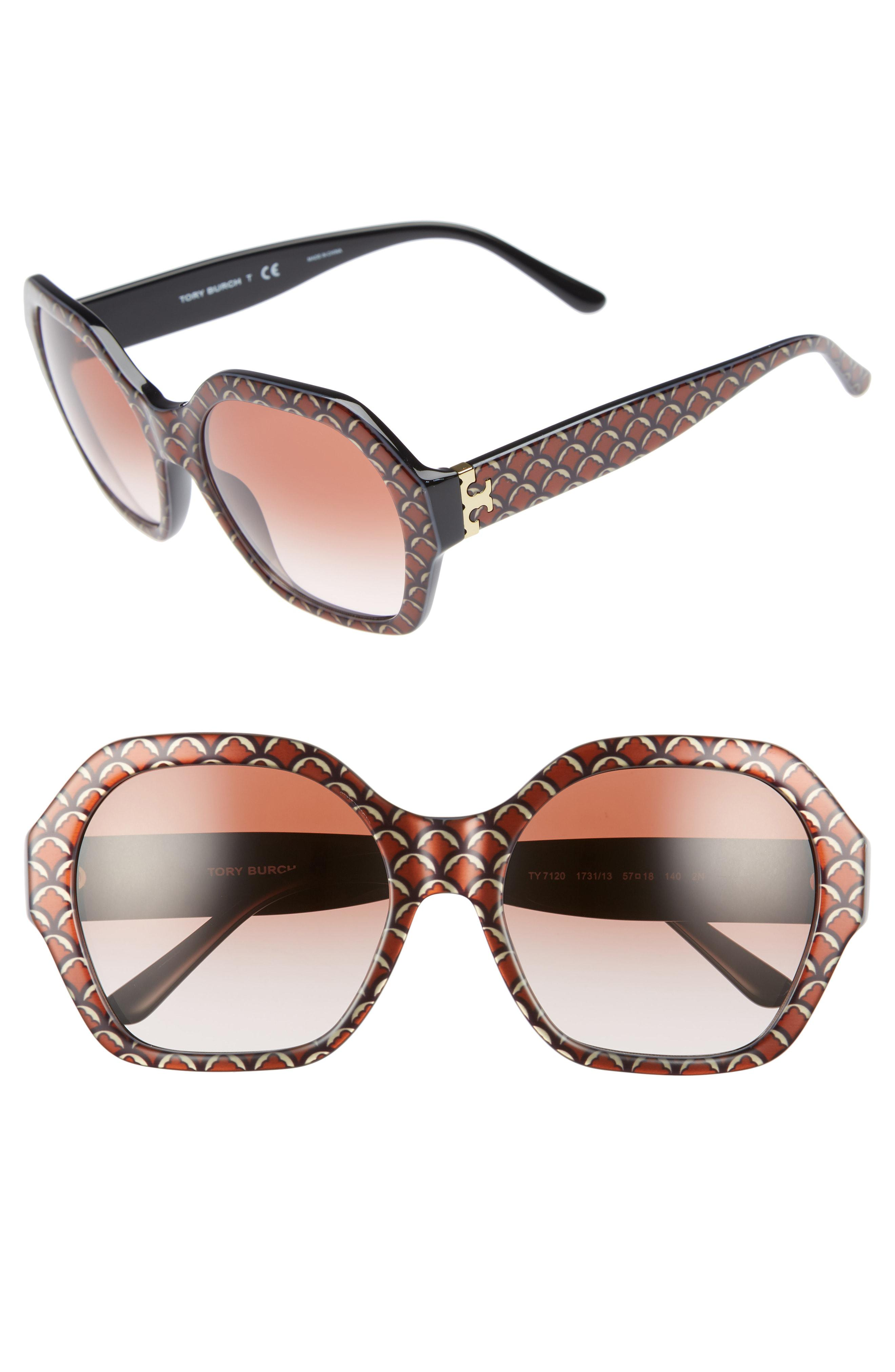 ac466889154a Lyst - Tory Burch Serif T 57mm Hexagonal Sunglasses in Black