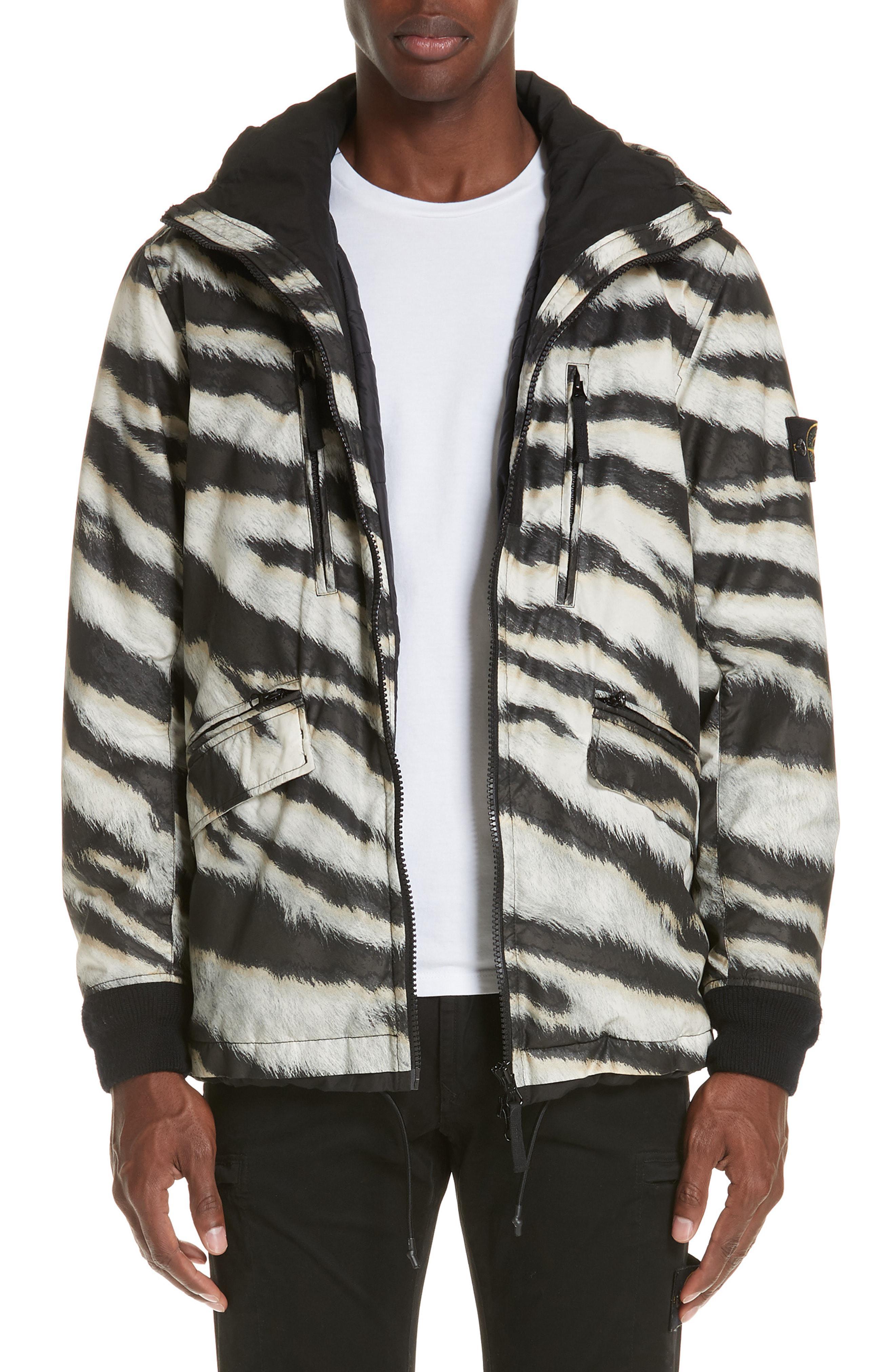 fa522b3c1d10 Lyst - Stone Island Zebra Print Hooded Jacket in Natural for Men