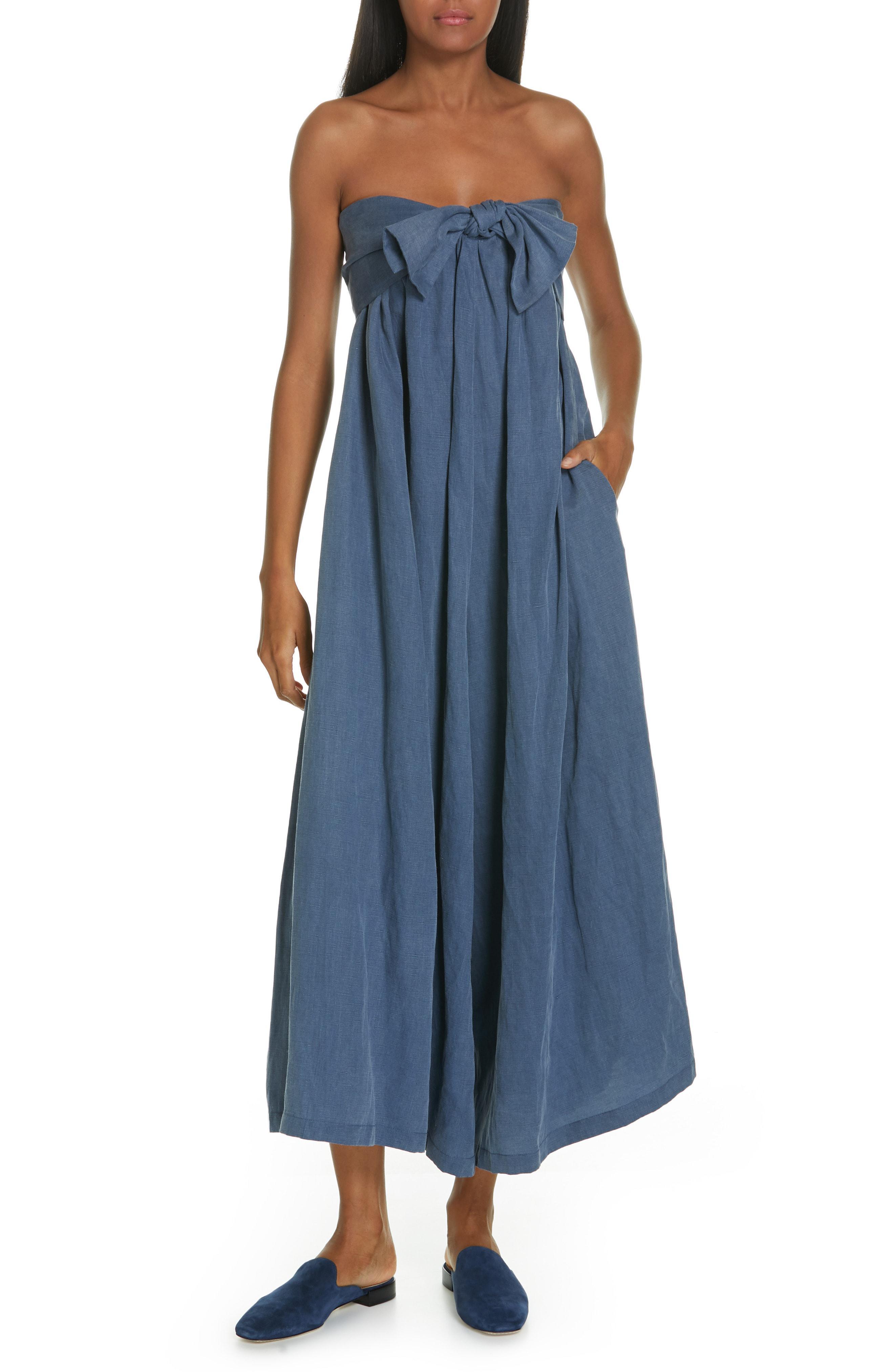 30a6fb845da Lyst - Ulla Johnson Jordane Strapless Wide Leg Jumpsuit in Blue