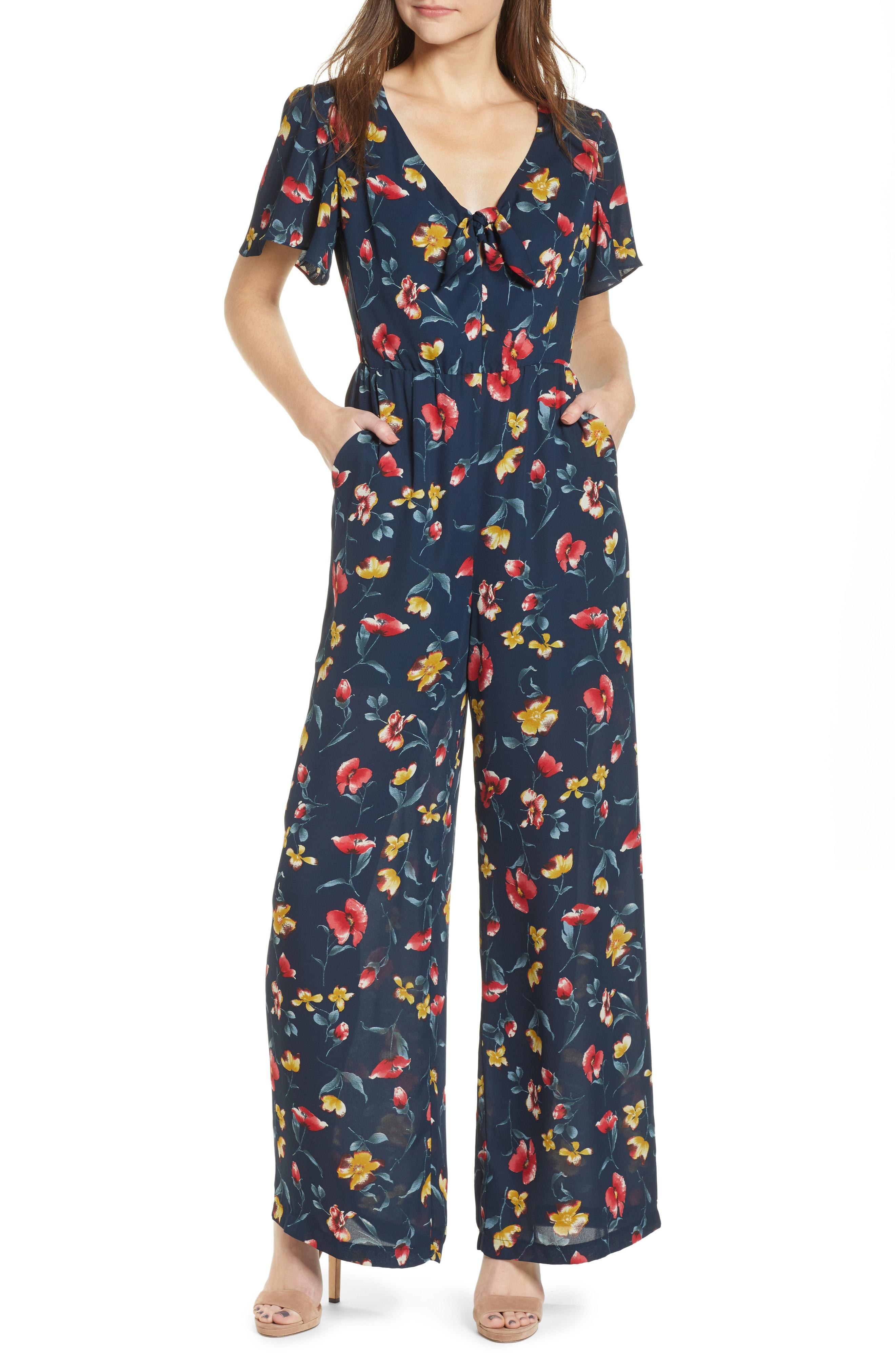 bd53ef0b946f Lyst - Chelsea28 Knot Front Floral Jumpsuit in Blue