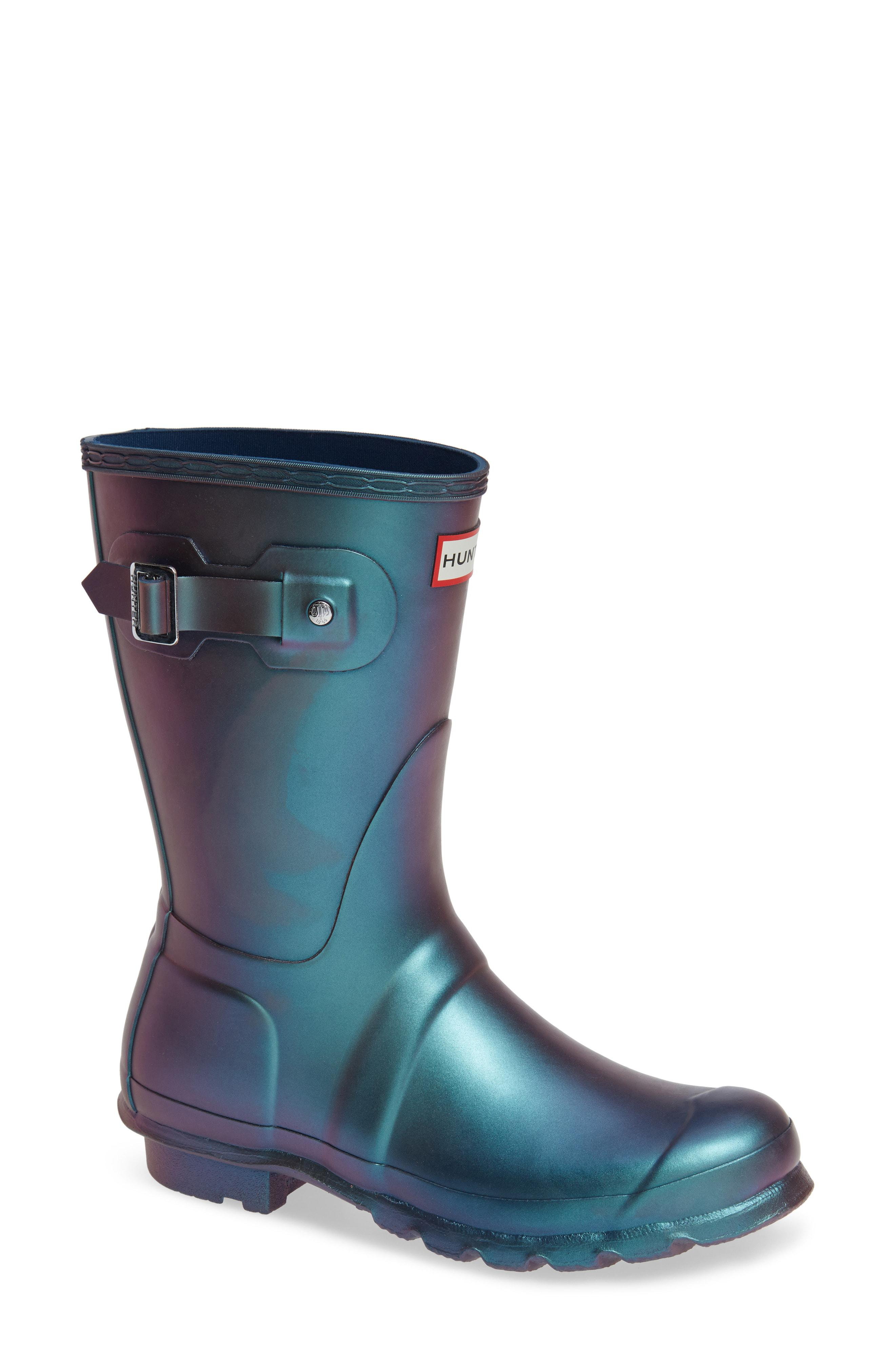 61386f36430 Hunter Original Short Nebula Rain Boot in Blue - Lyst