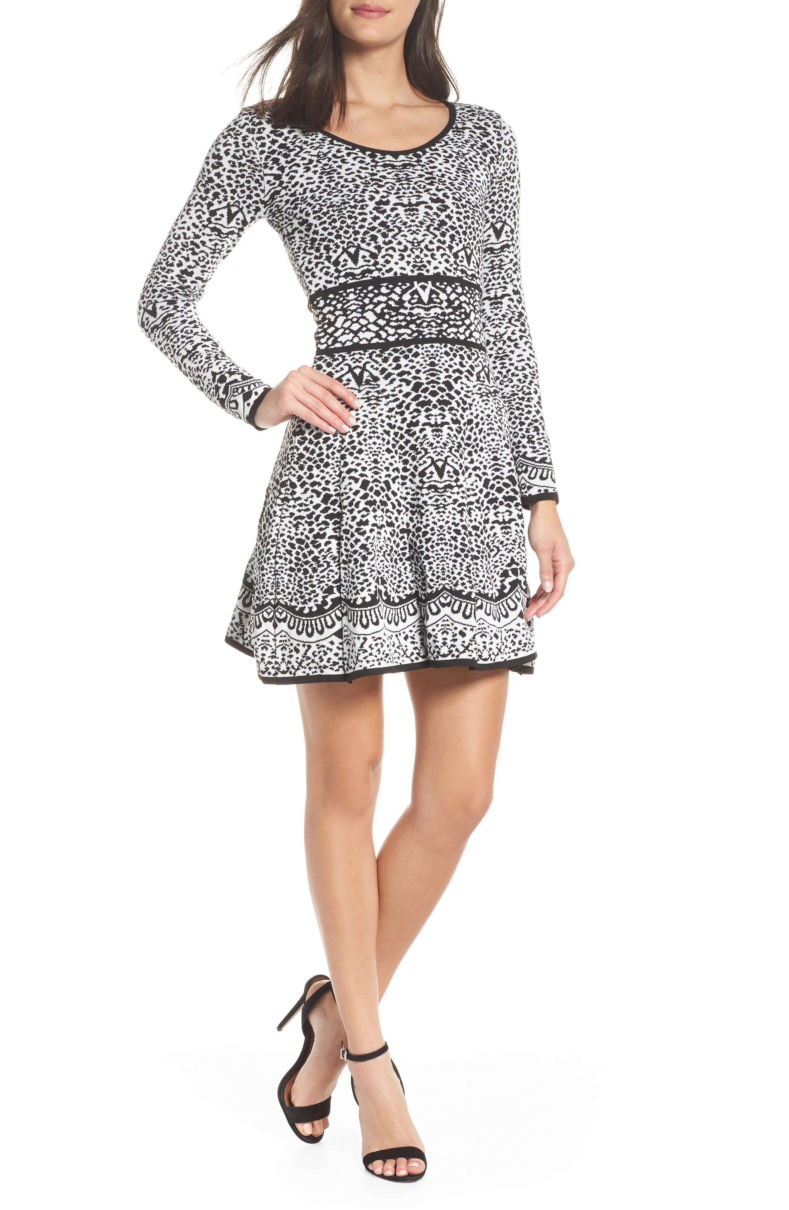 d24f6ed39e Lyst - Fraiche By J Intarza Fit   Flare Sweater Dress in Black