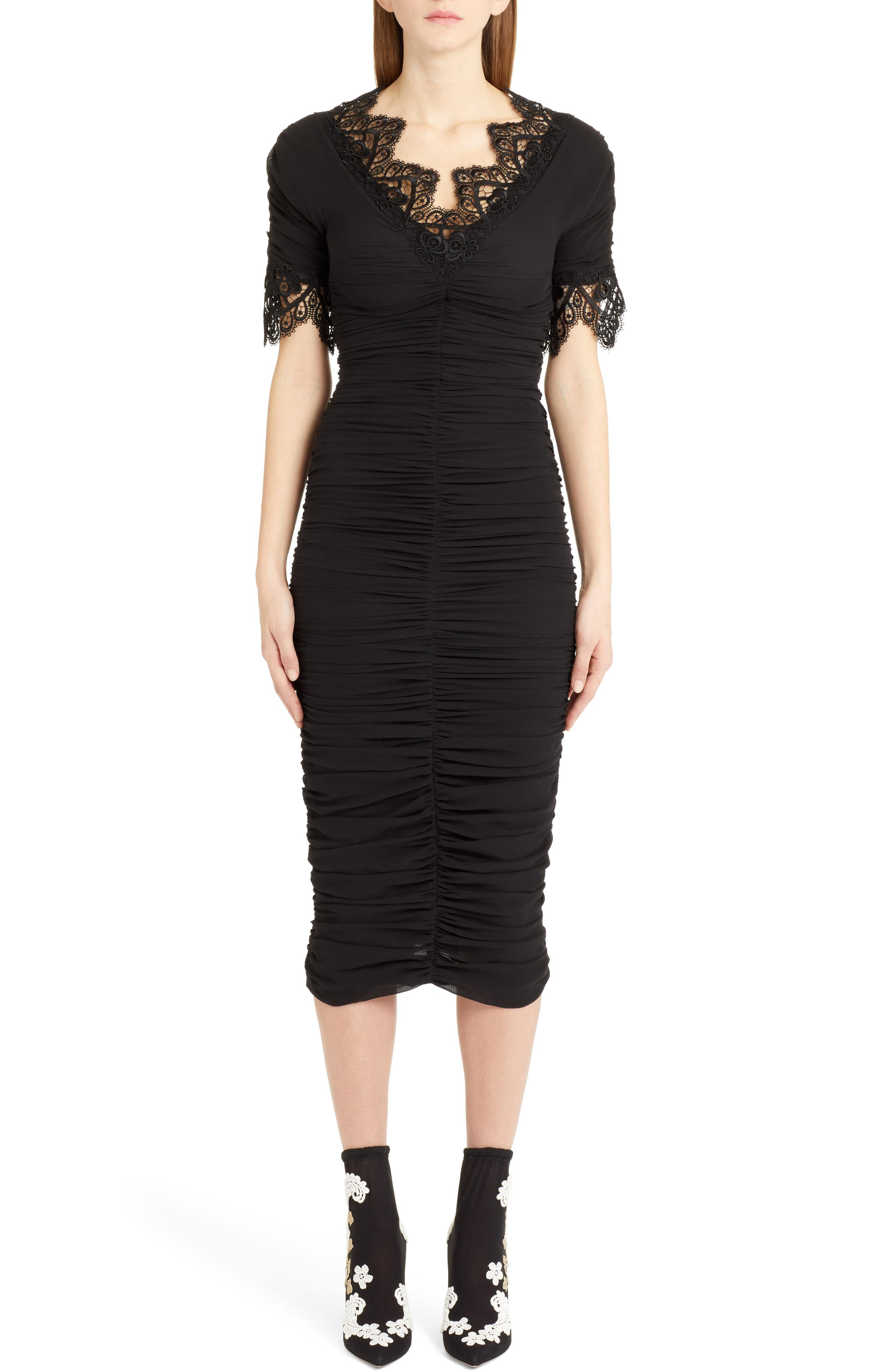 9908e9516e337 Lyst - Dolce & Gabbana Lace Trim Ruched Silk Blend Dress in Black