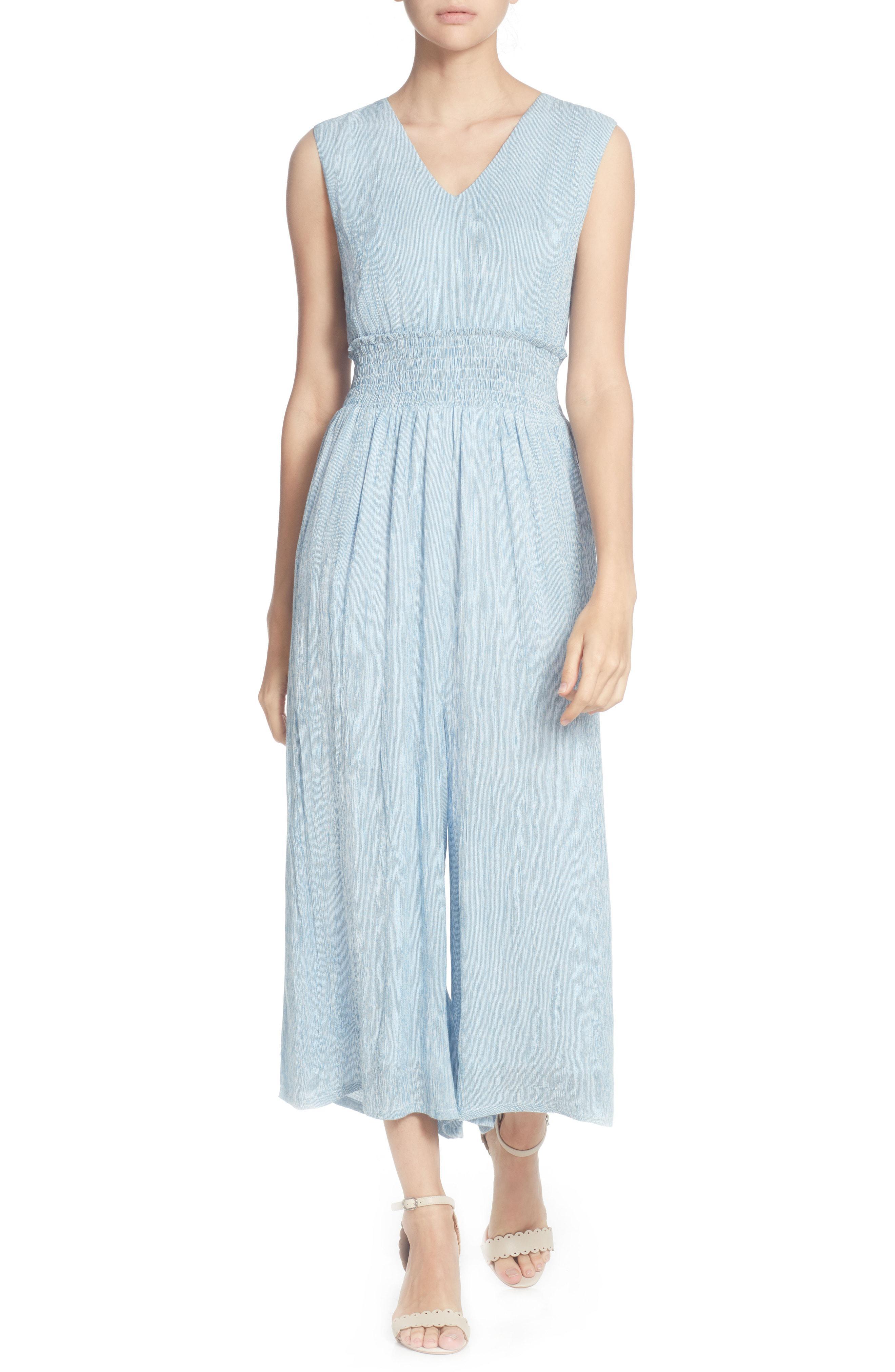 8eaffef3e49 Lyst - Catherine Malandrino Braden Smocked Crop Jumpsuit in Blue