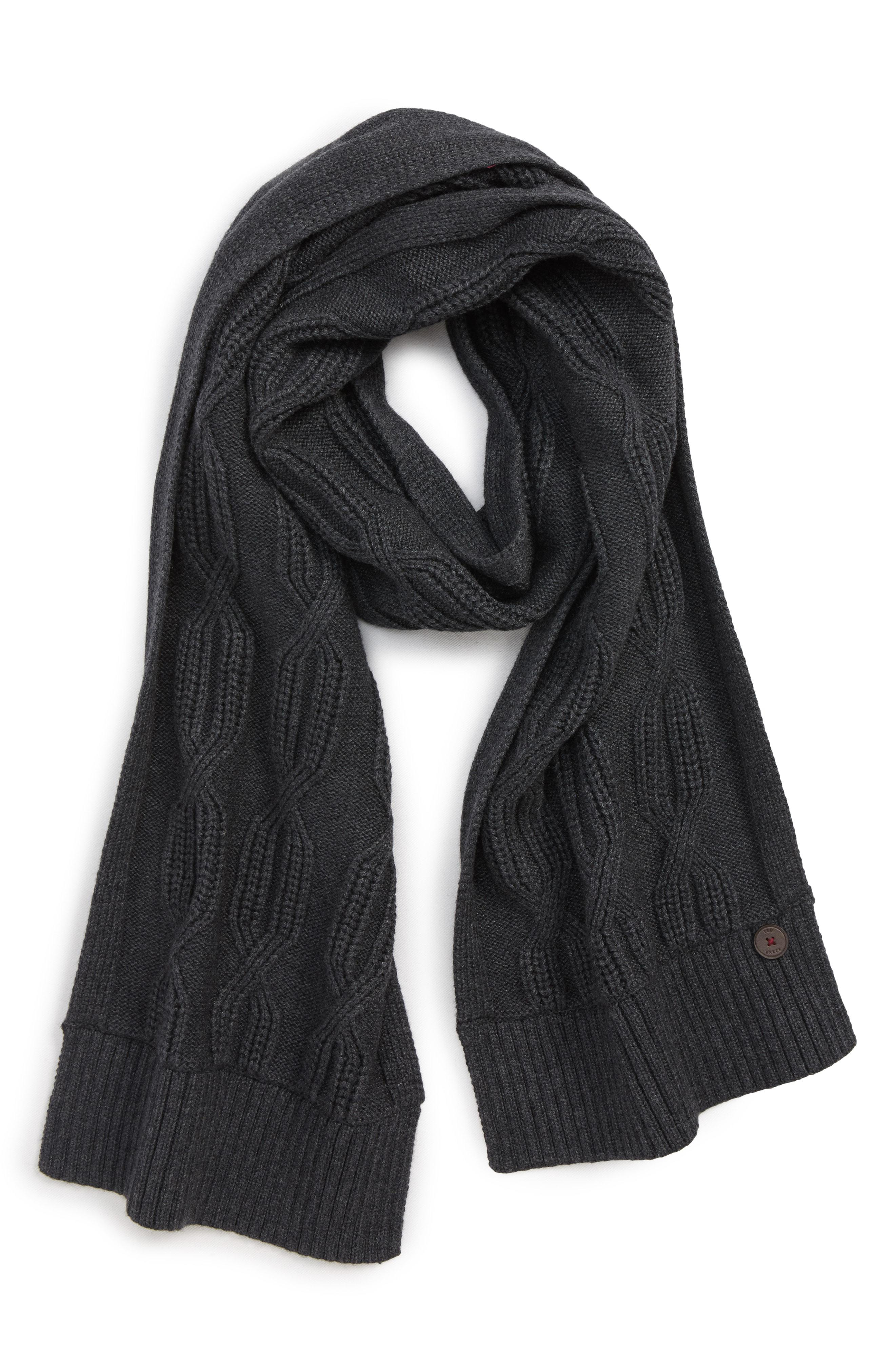 6ea7ab468675 Lyst - Ted Baker Cable Knit Scarf in Gray for Men