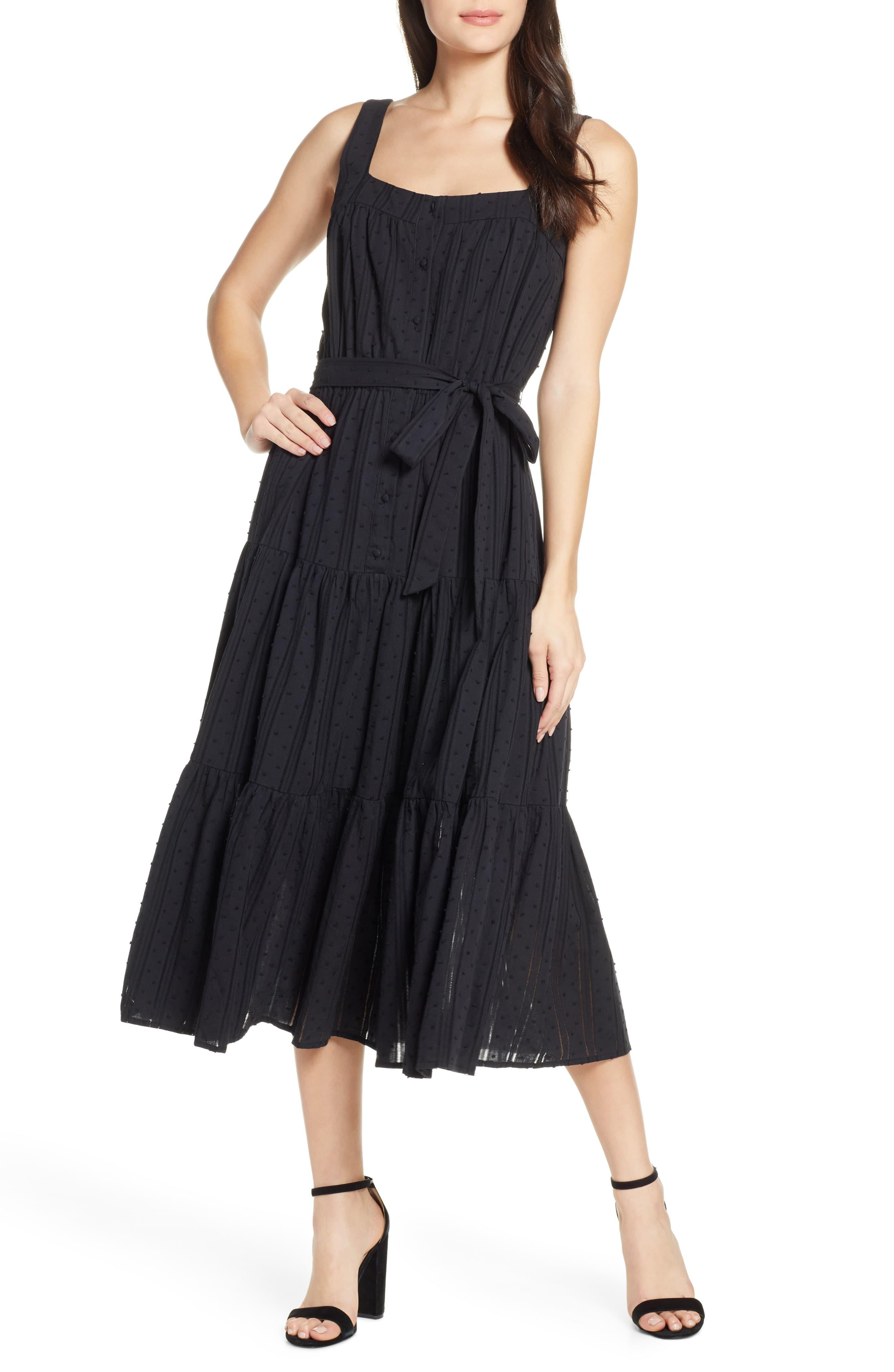 48eb43ccce31 Chelsea28 Tiered Fit & Flare Midi Dress in Black - Lyst