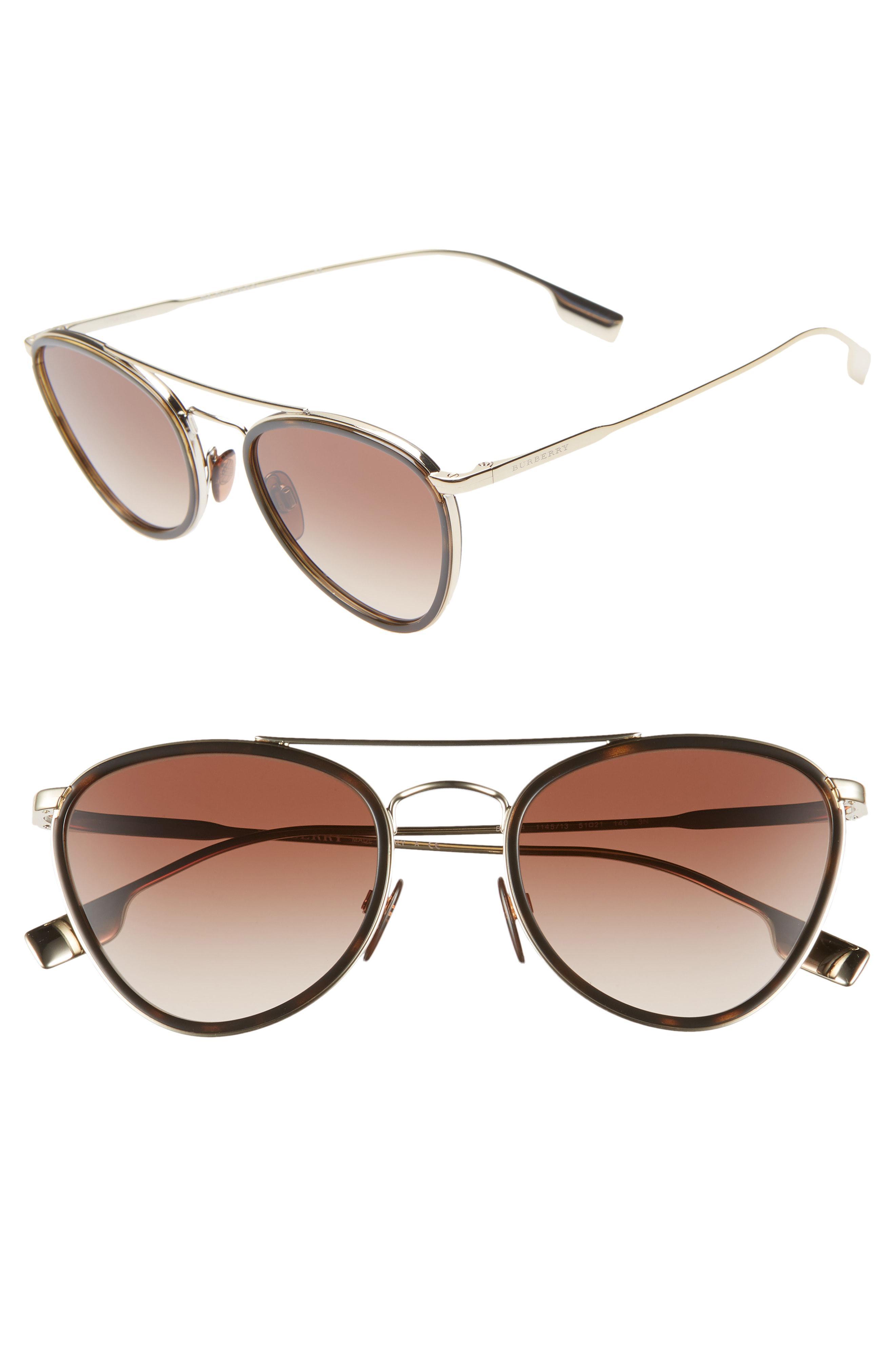 08eb6b992807 Burberry - Brown 51mm Aviator Sunglasses - Lyst. View fullscreen