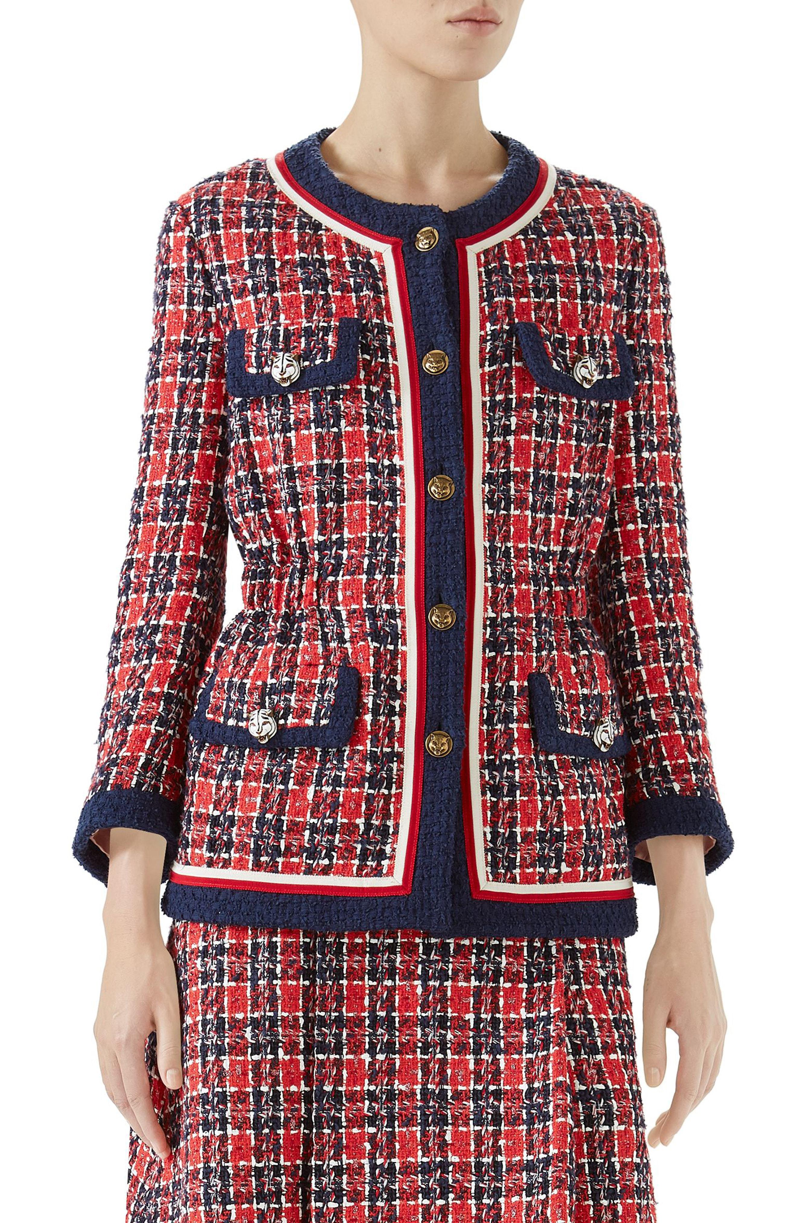 c2bf53677 Lyst - Gucci Cinch Waist Tweed Jacket in Red