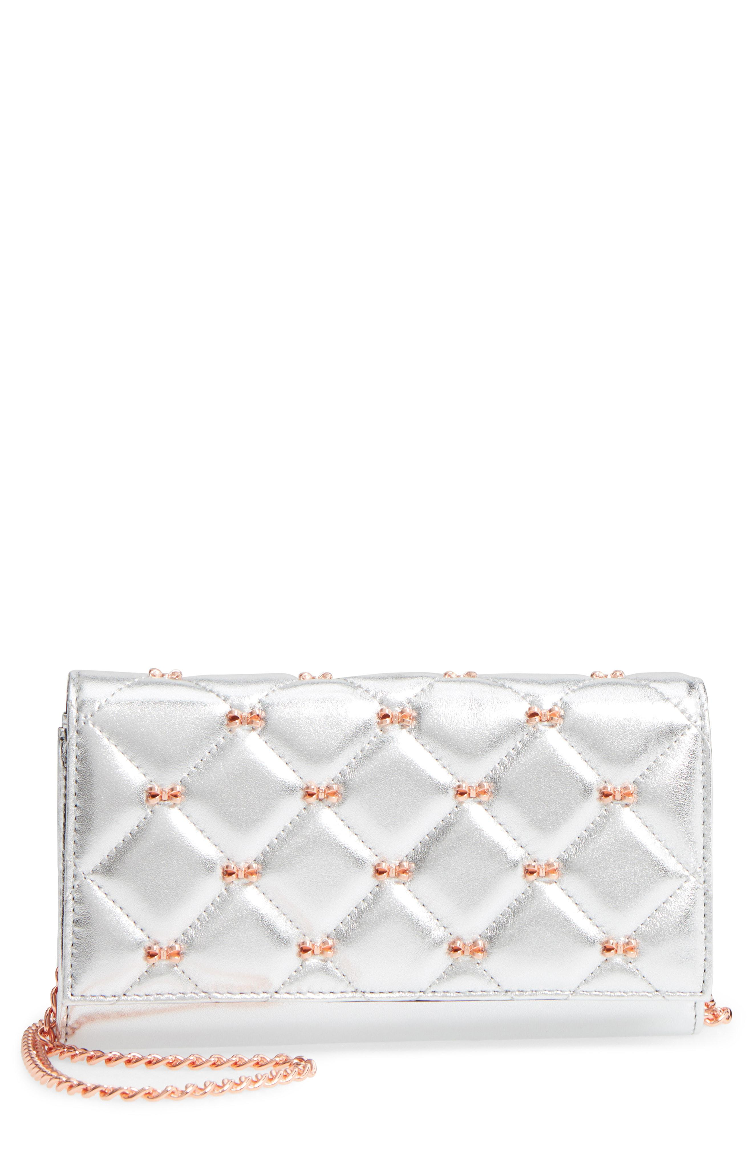 dc12b0b9b Lyst - Ted Baker Quilted Bow Leather Matinee Wallet On A Chain in Gray