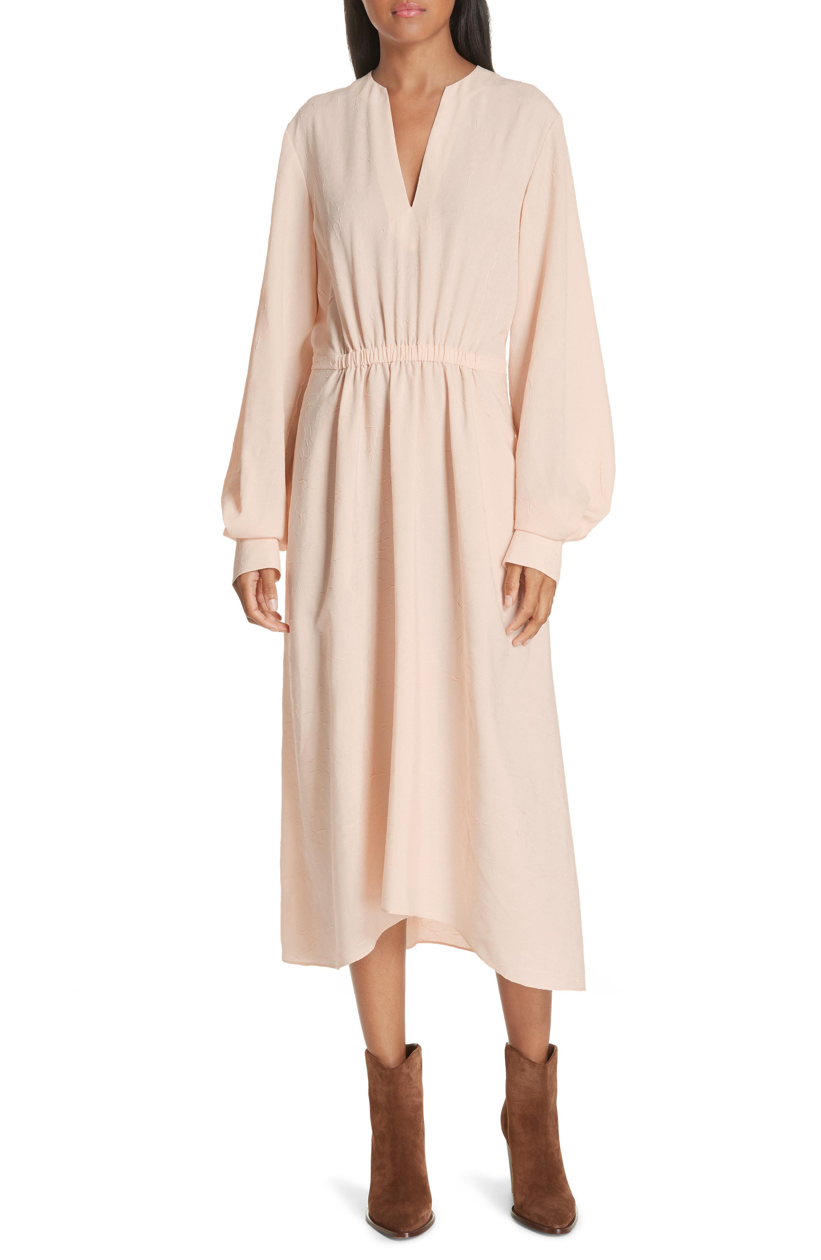 4dbd29ed82 Lyst - Vince Poet Midi Dress in Natural