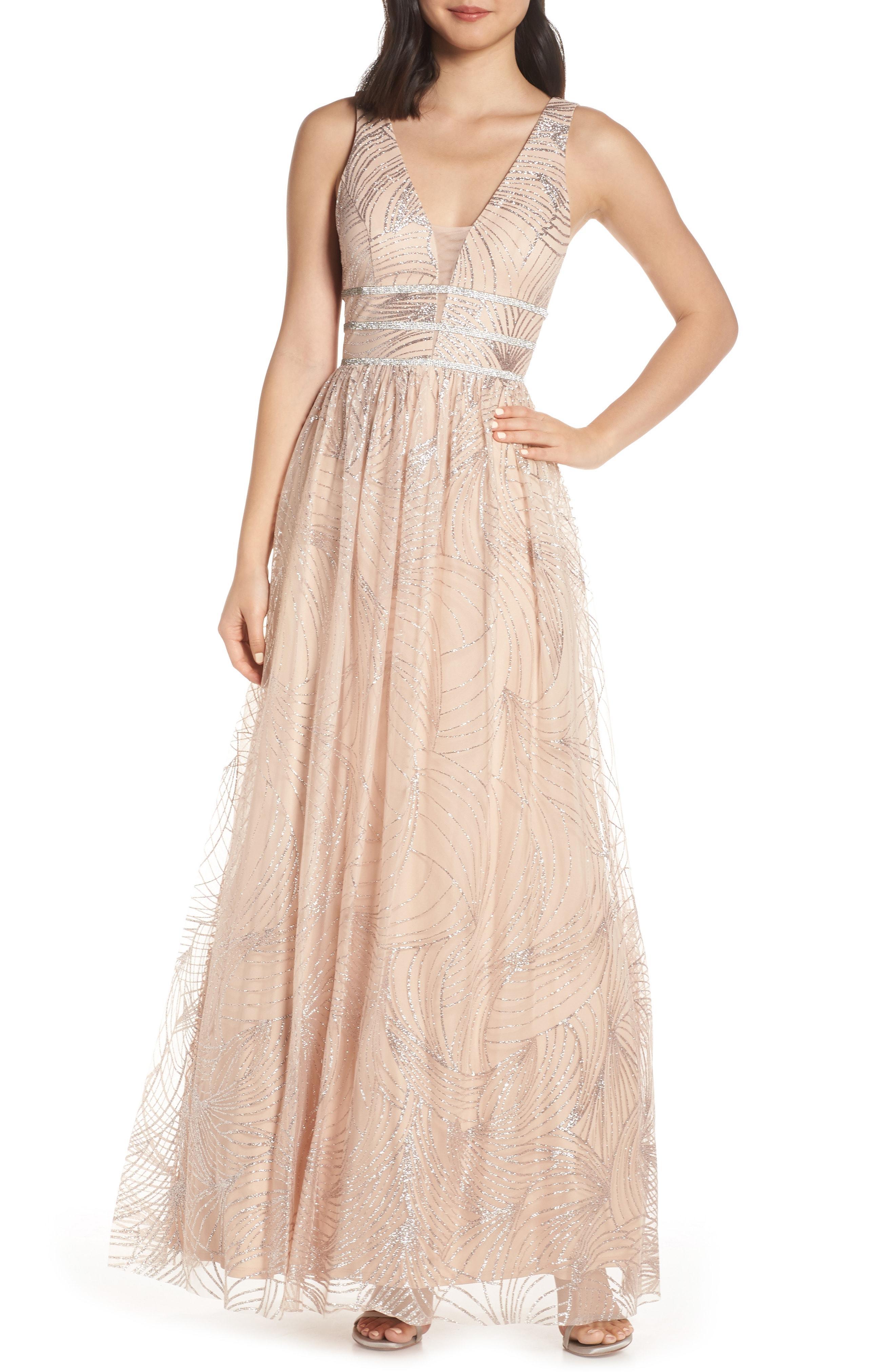 4172dd2236e Lyst - Blondie Nites Stripe Waist Glitter Mesh Evening Dress