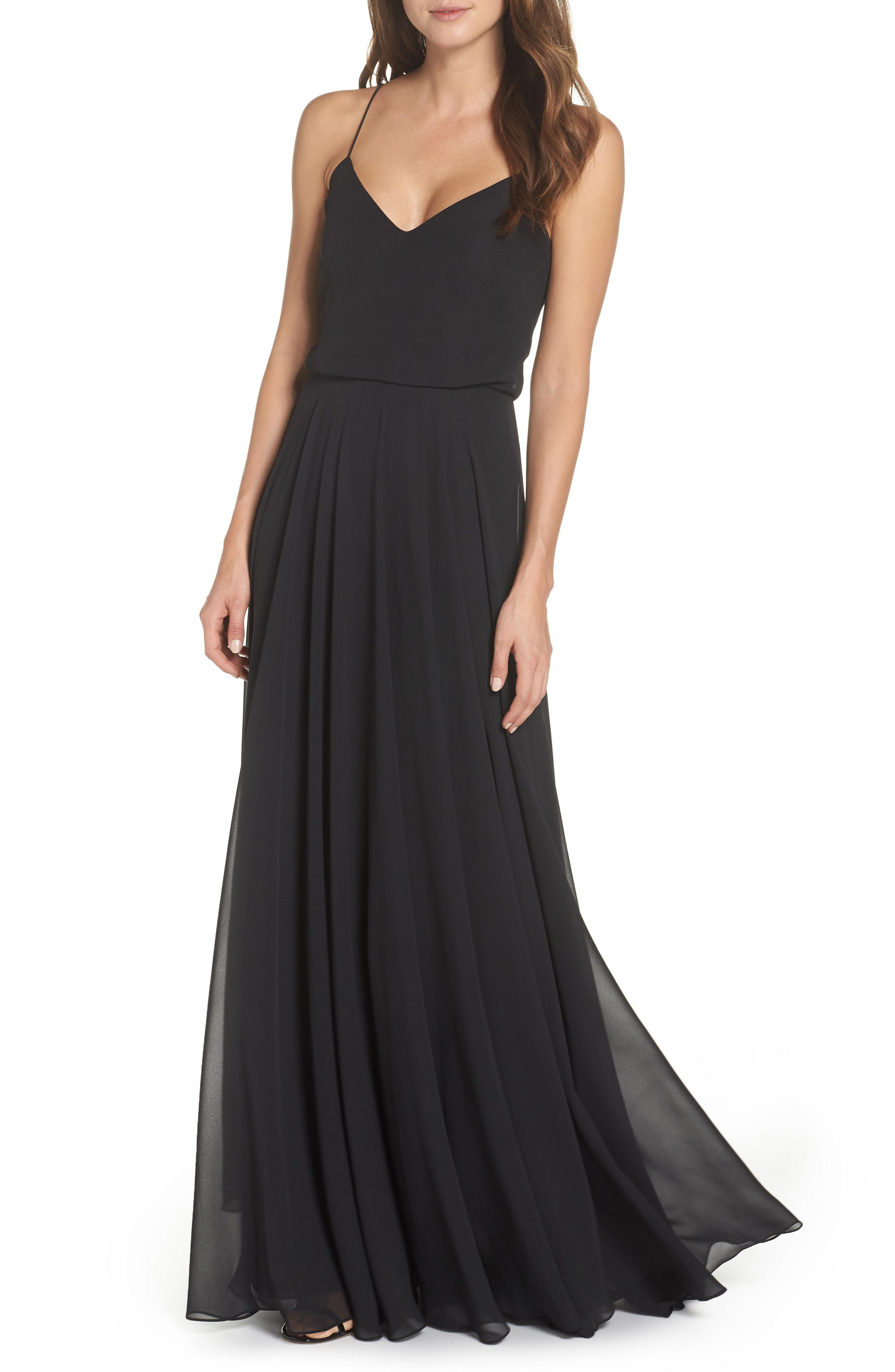 4edfa4132800 Lyst - Jenny Yoo 'inesse' Chiffon V-neck Spaghetti Strap Gown in Black