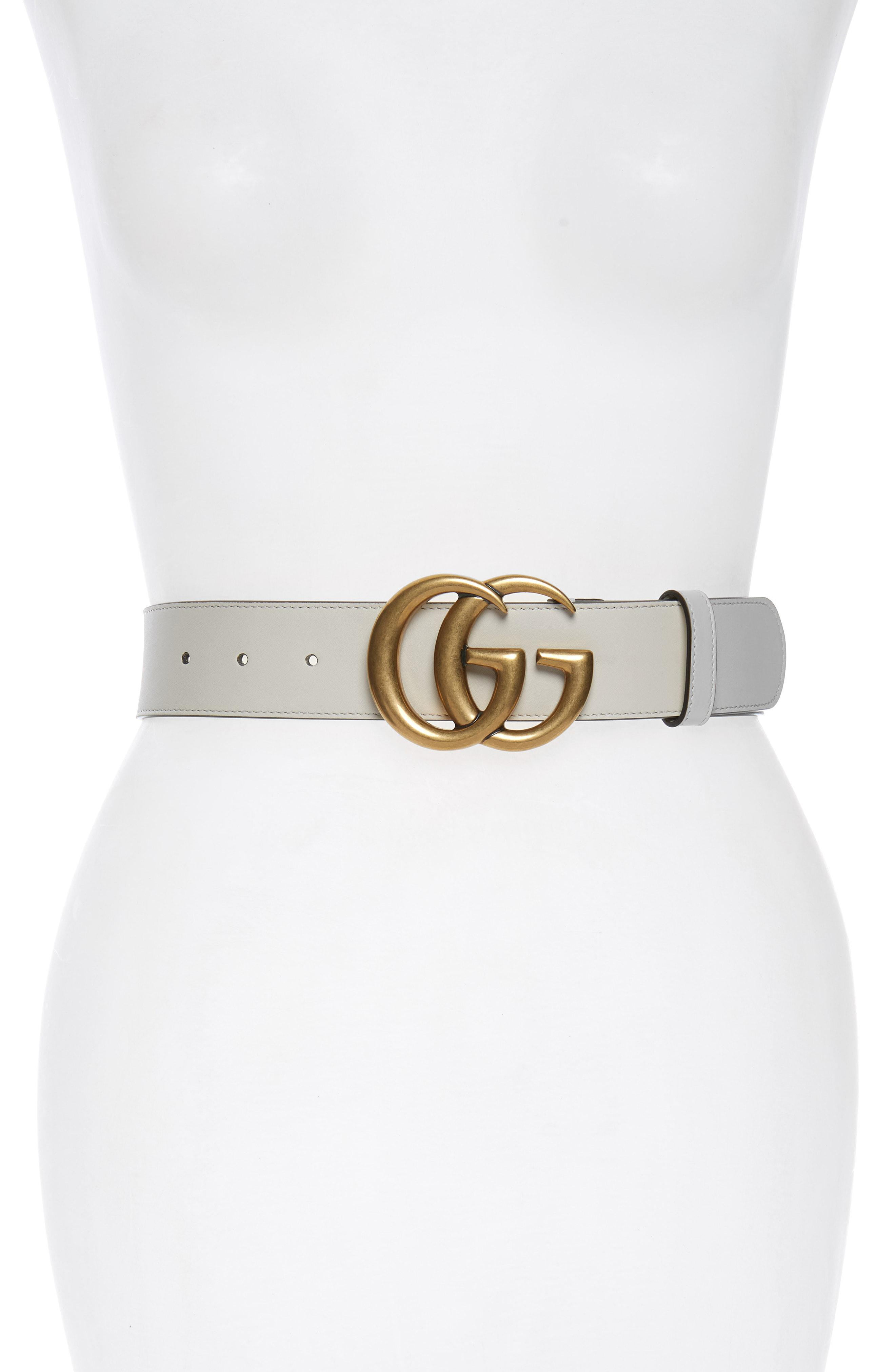 27c7a9f8acd Lyst - Gucci Cintura Donna Leather Belt in White