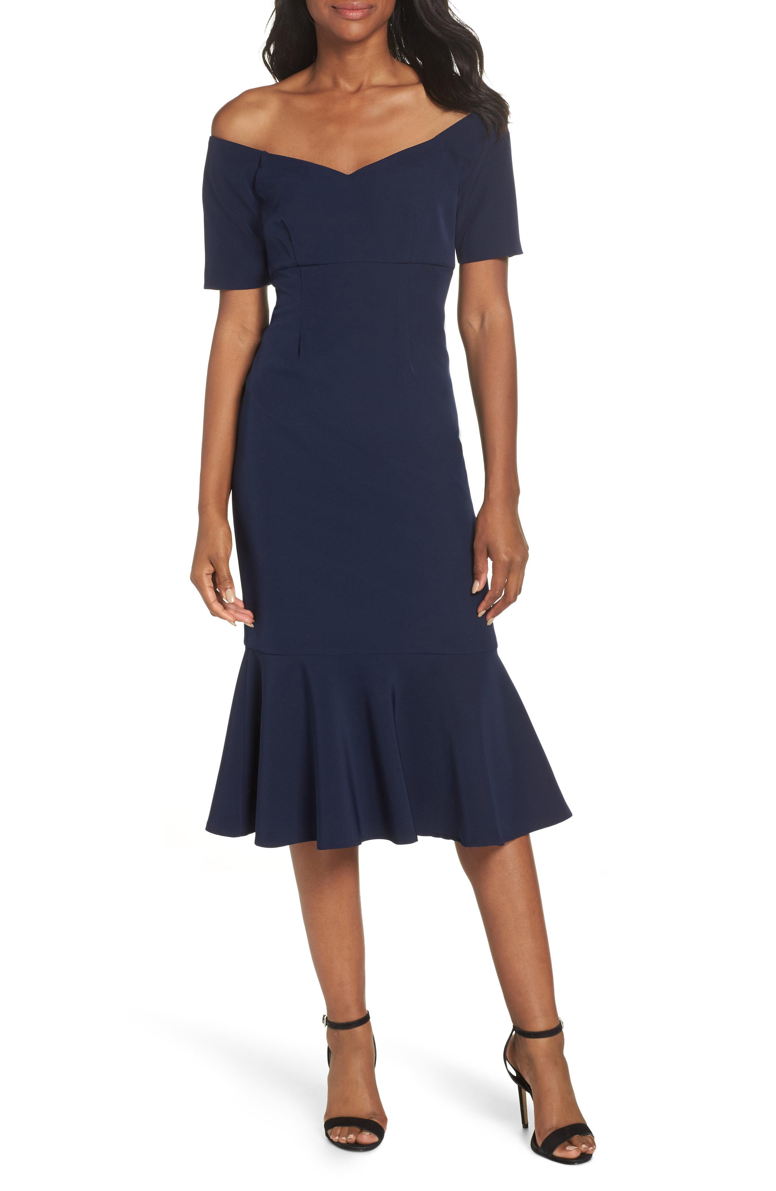 cb780e3e9df7 Lyst - Maggy London Dream Crepe Off The Shoulder Midi Dress in Blue ...