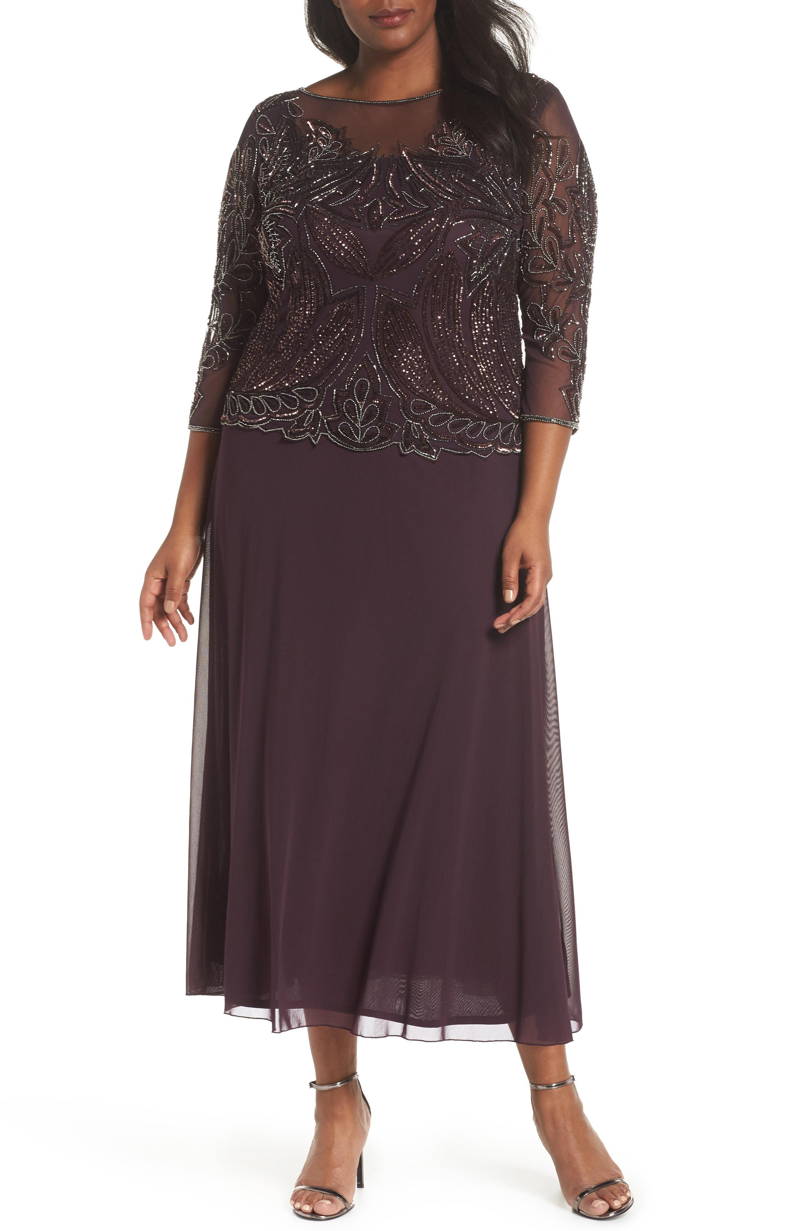 37134e32275 Lyst - Pisarro Nights Illusion Neck Beaded A-line Gown in Purple