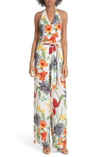 a3f4d638995 Lyst - Alice + Olivia Cyprus Halter Top Floral Jumpsuit