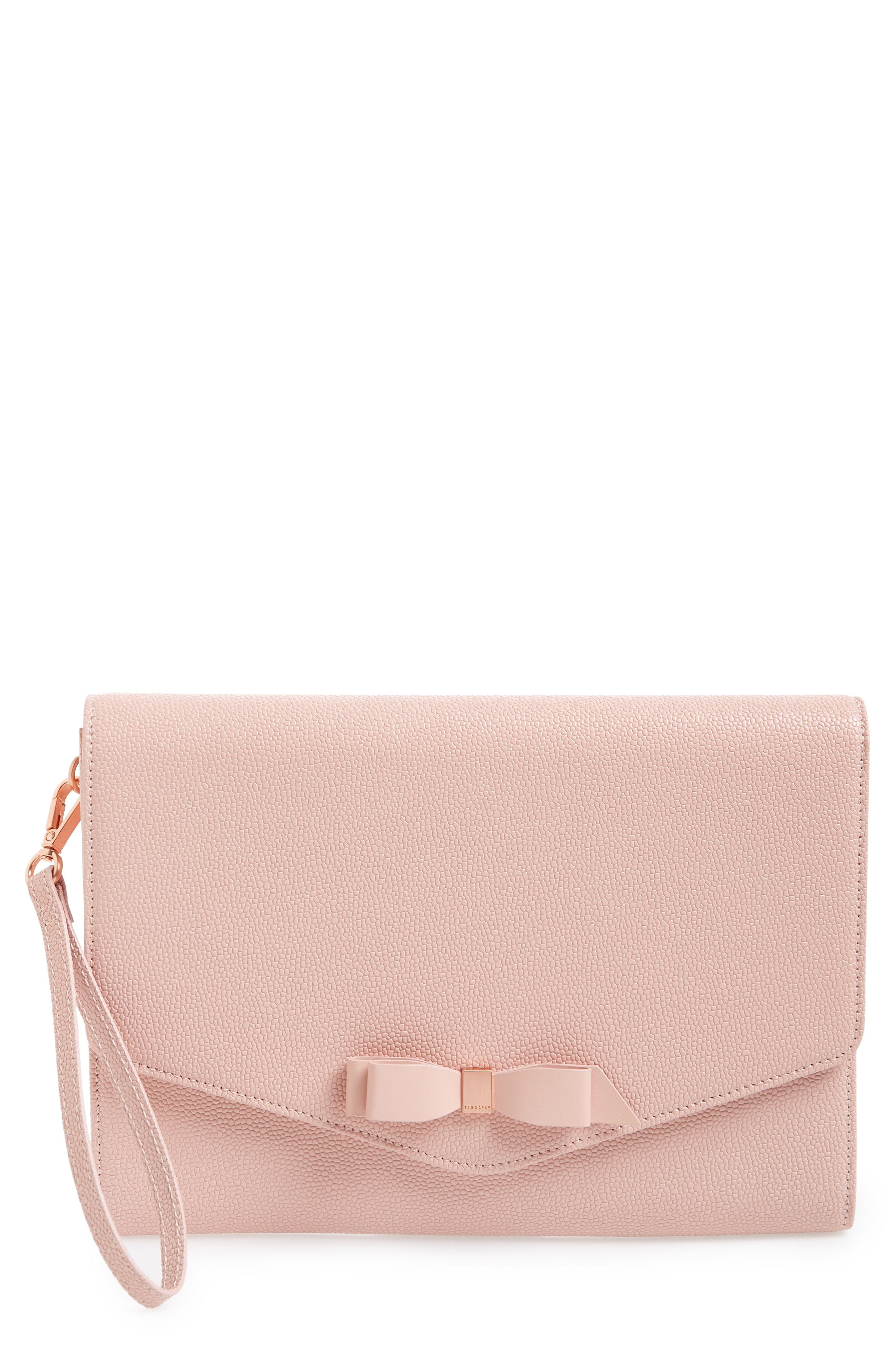 6db4a03a4a183 Lyst - Ted Baker Krystan Bow Leather Envelope Clutch in Pink