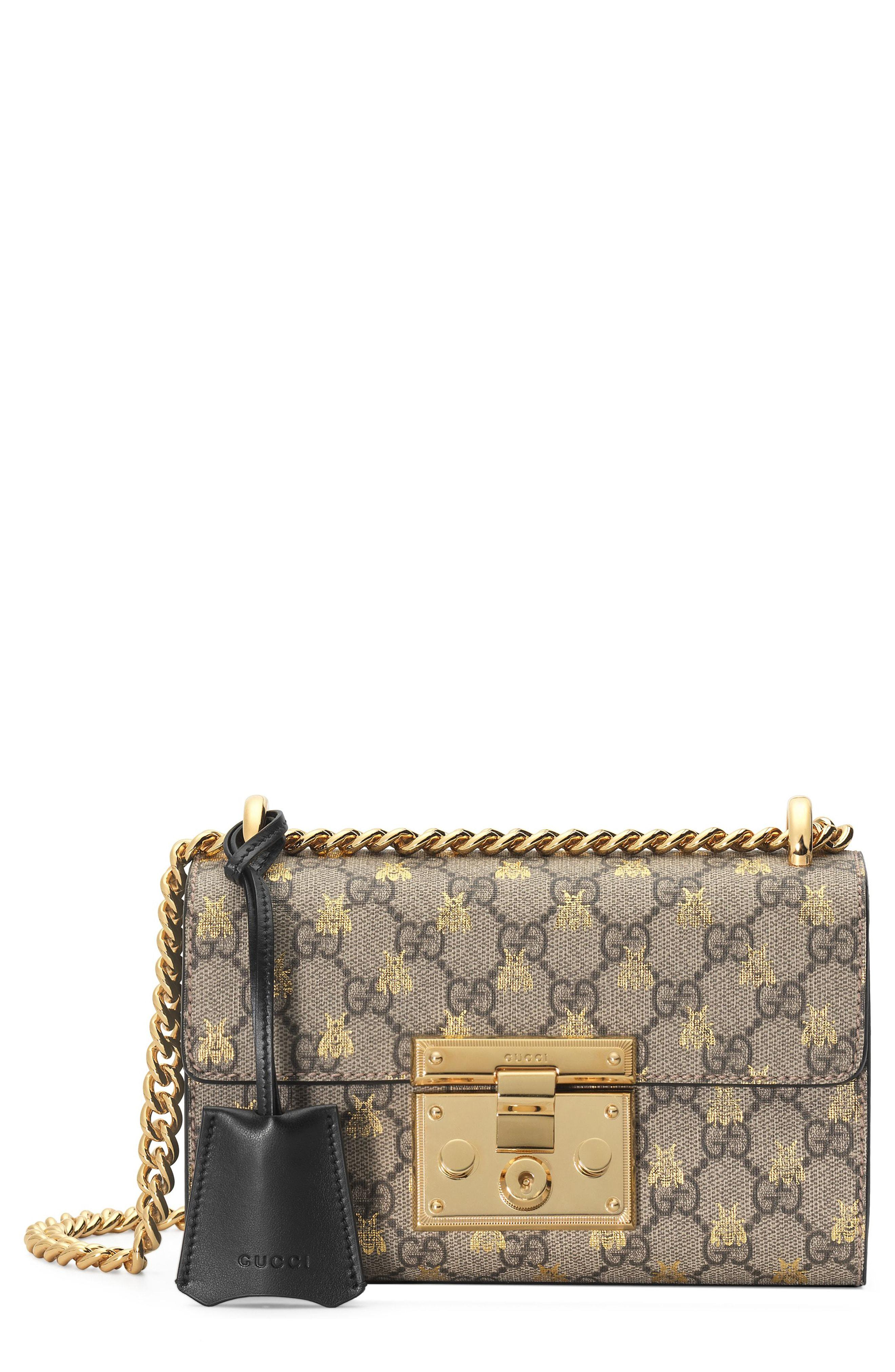 74278d0b004 Lyst - Gucci Gold GG Bees Padlock Small Shoulder Bag - Save 27%