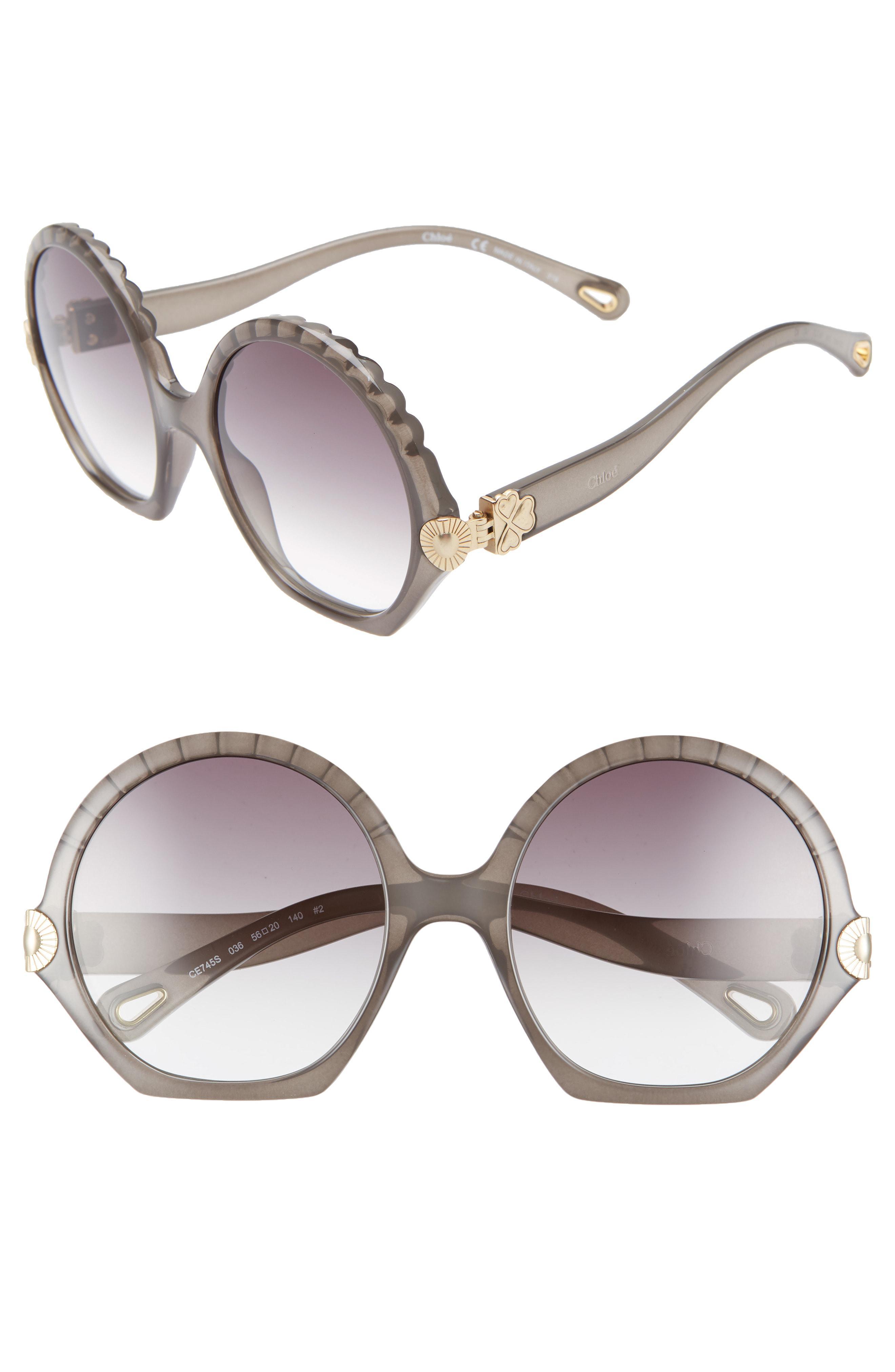 a37ff129401 Lyst - Chloé Vera Seashell 56mm Round Sunglasses - Dark Grey in Gray