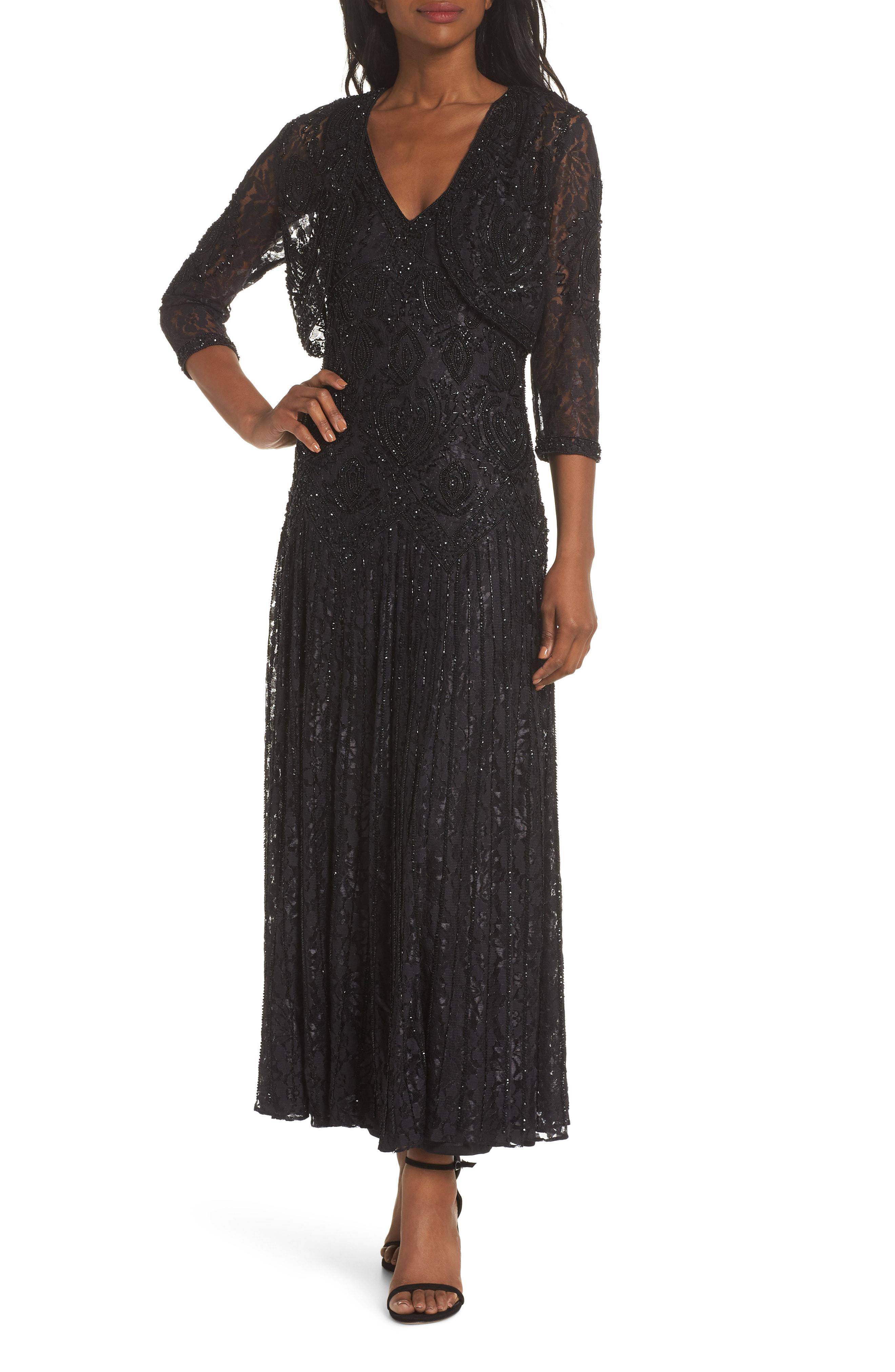 4db3d3c35ef Lyst - Pisarro Nights Beaded Lace Evening Dress With Bolero in Black