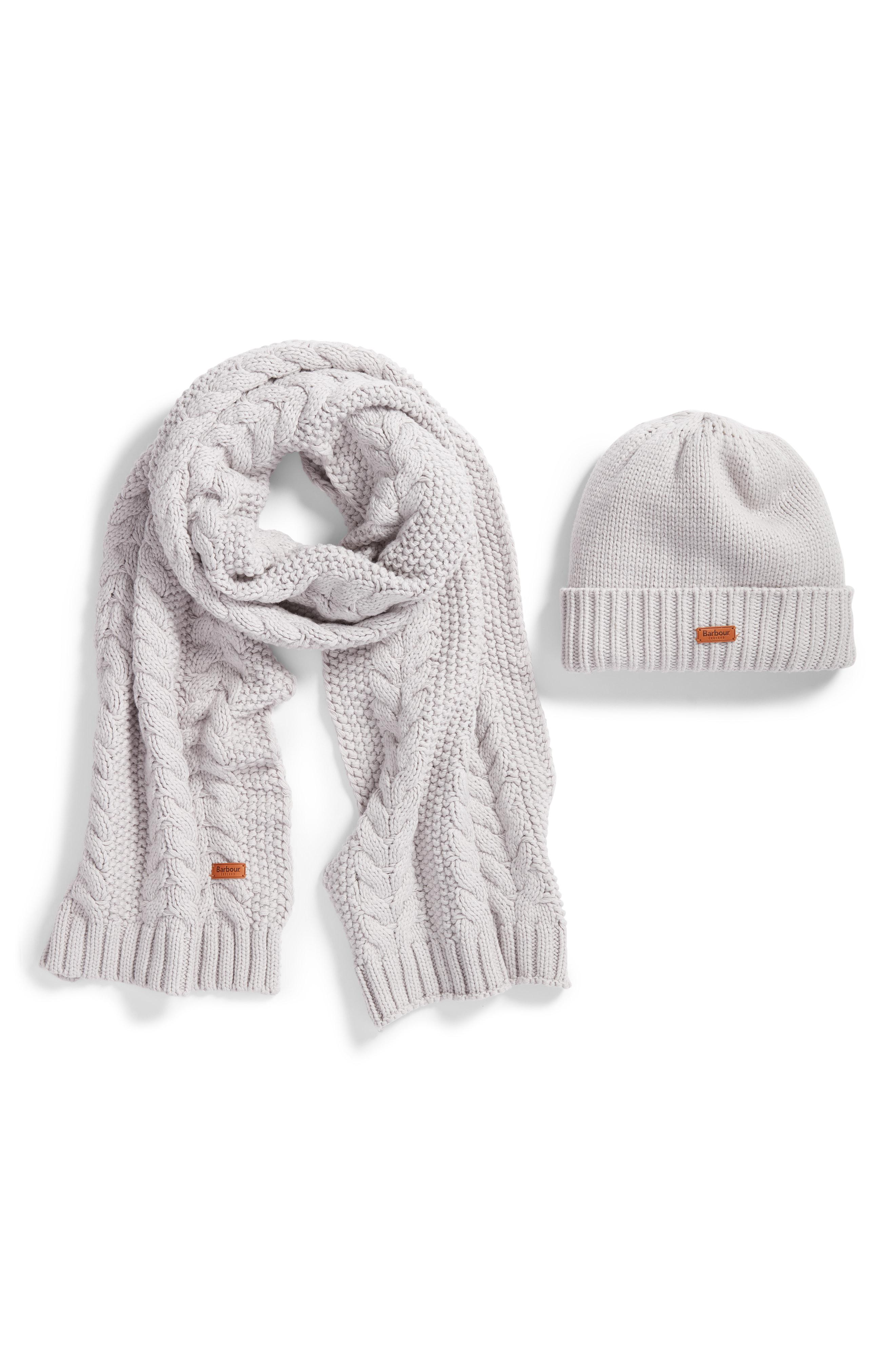 73fb2bb3519 Lyst - Barbour Cable Knit Hat   Scarf Set in White - Save 41%