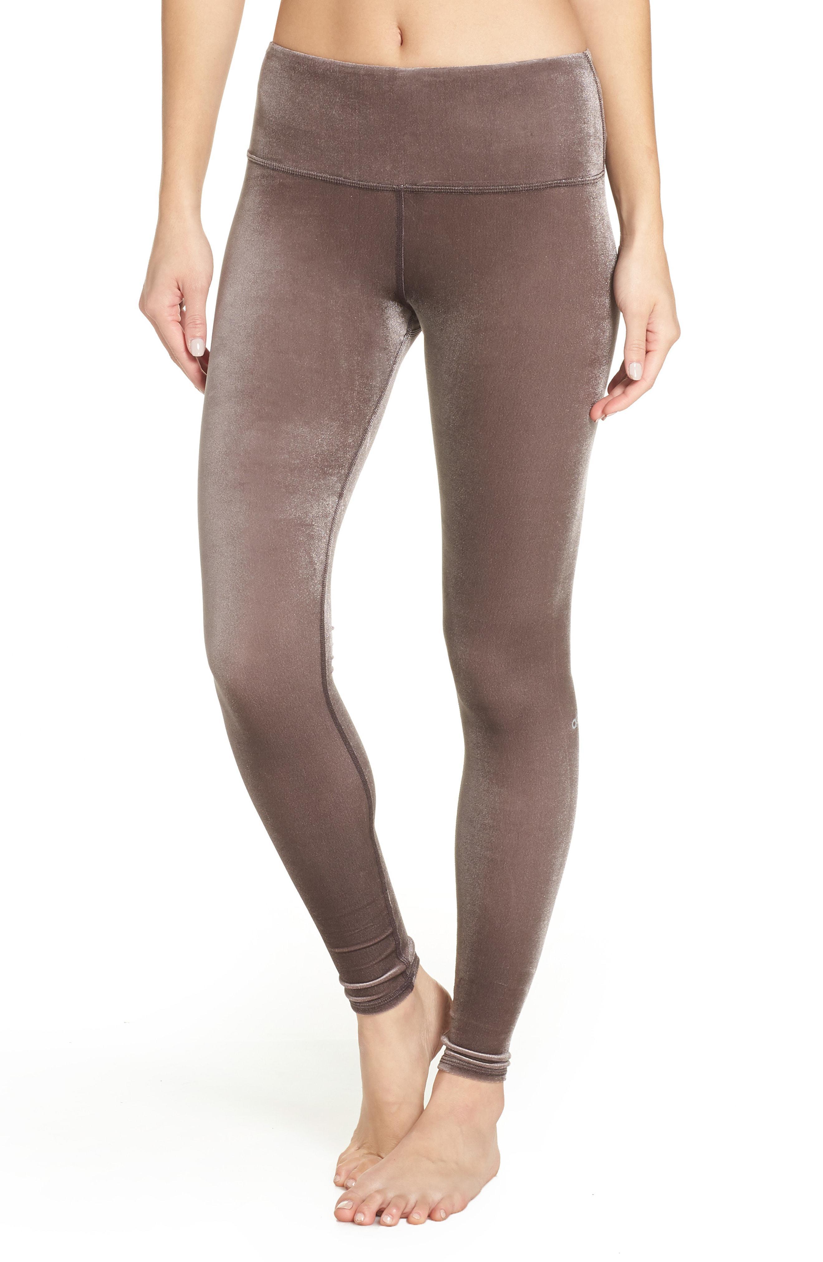 e57462a385fbc Lyst - Alo Yoga Posh High Waist Velvet Leggings in Brown