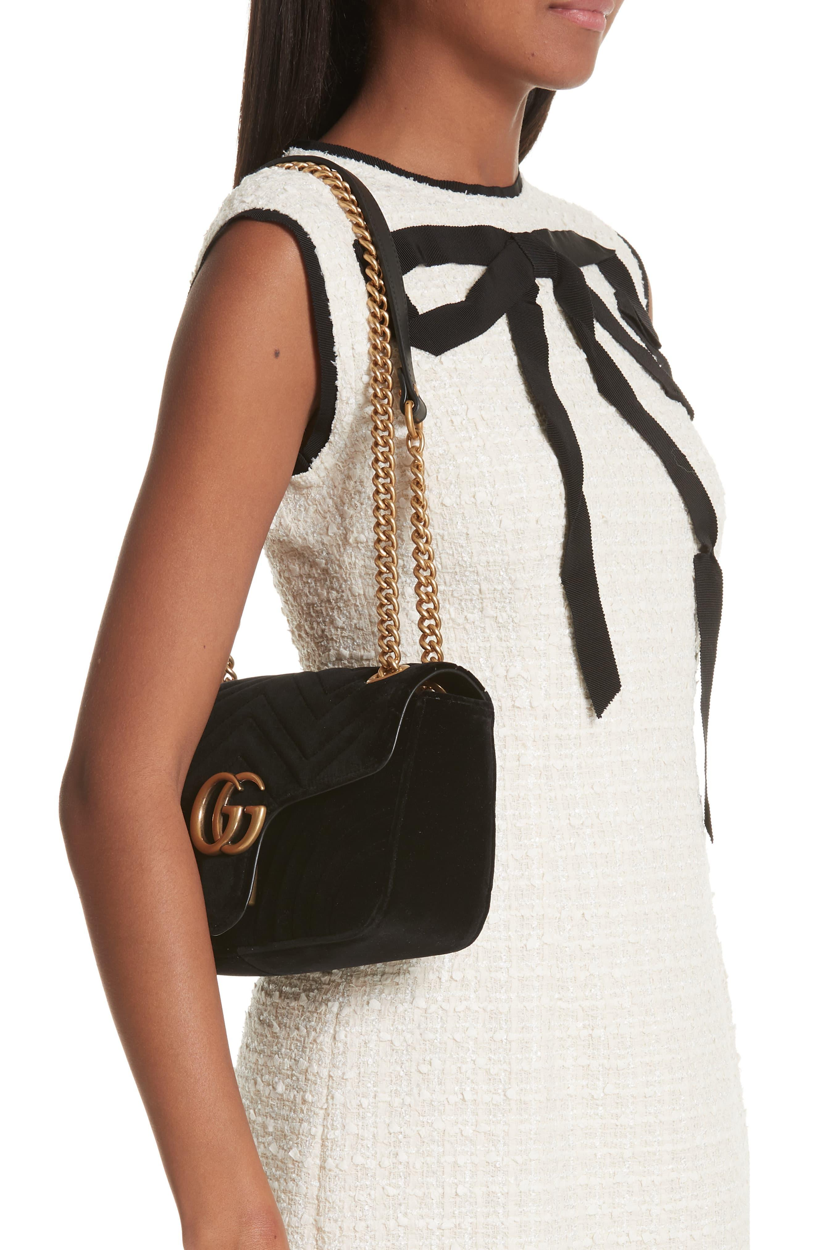 f23c57bc2e4c Gucci - Black GG Marmont Small Quilted Velvet Crossbody Bag - Lyst. View  fullscreen