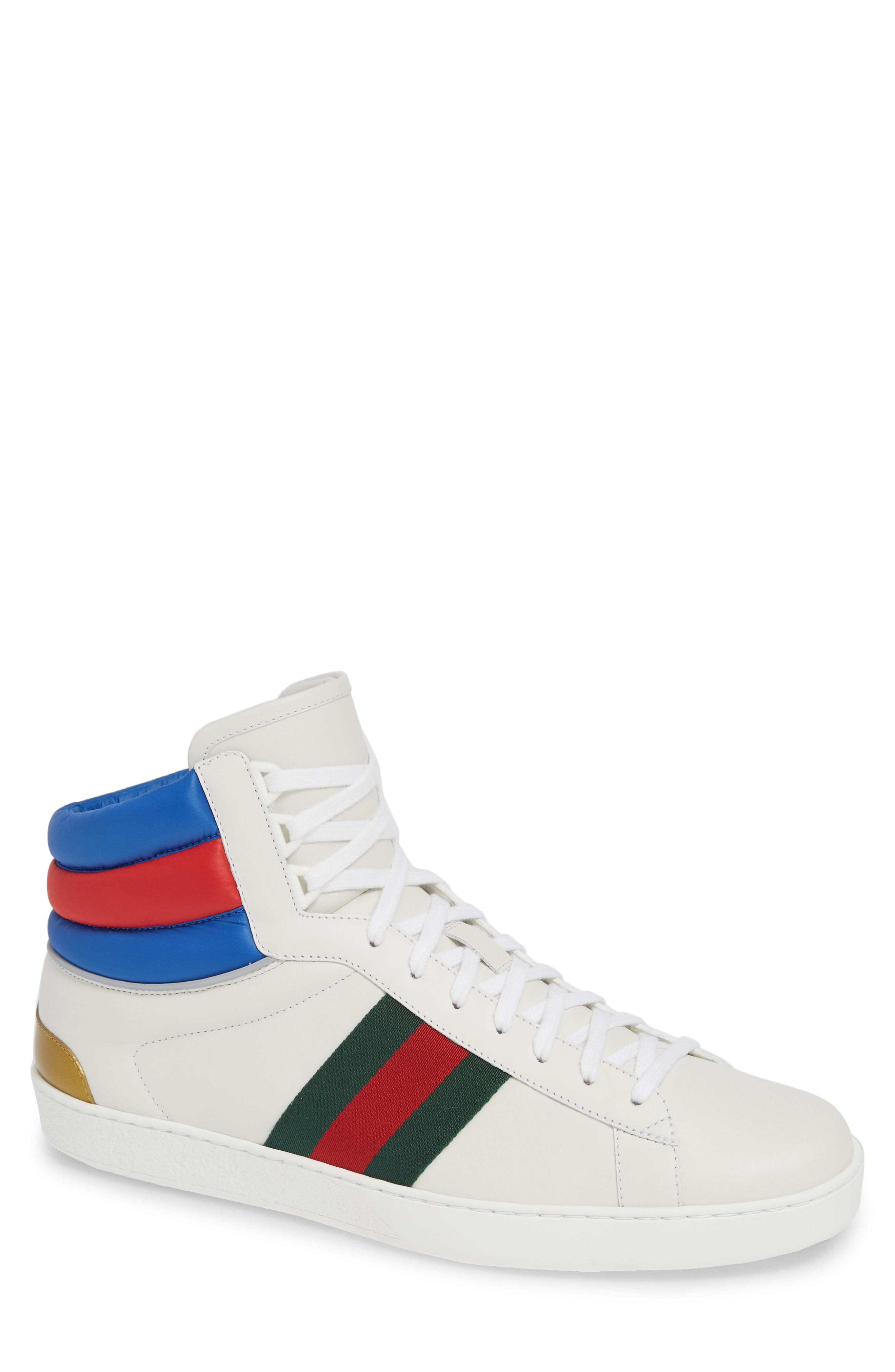 b4218a172f0 Lyst - Gucci New Ace Stripe High Top Sneaker in White for Men