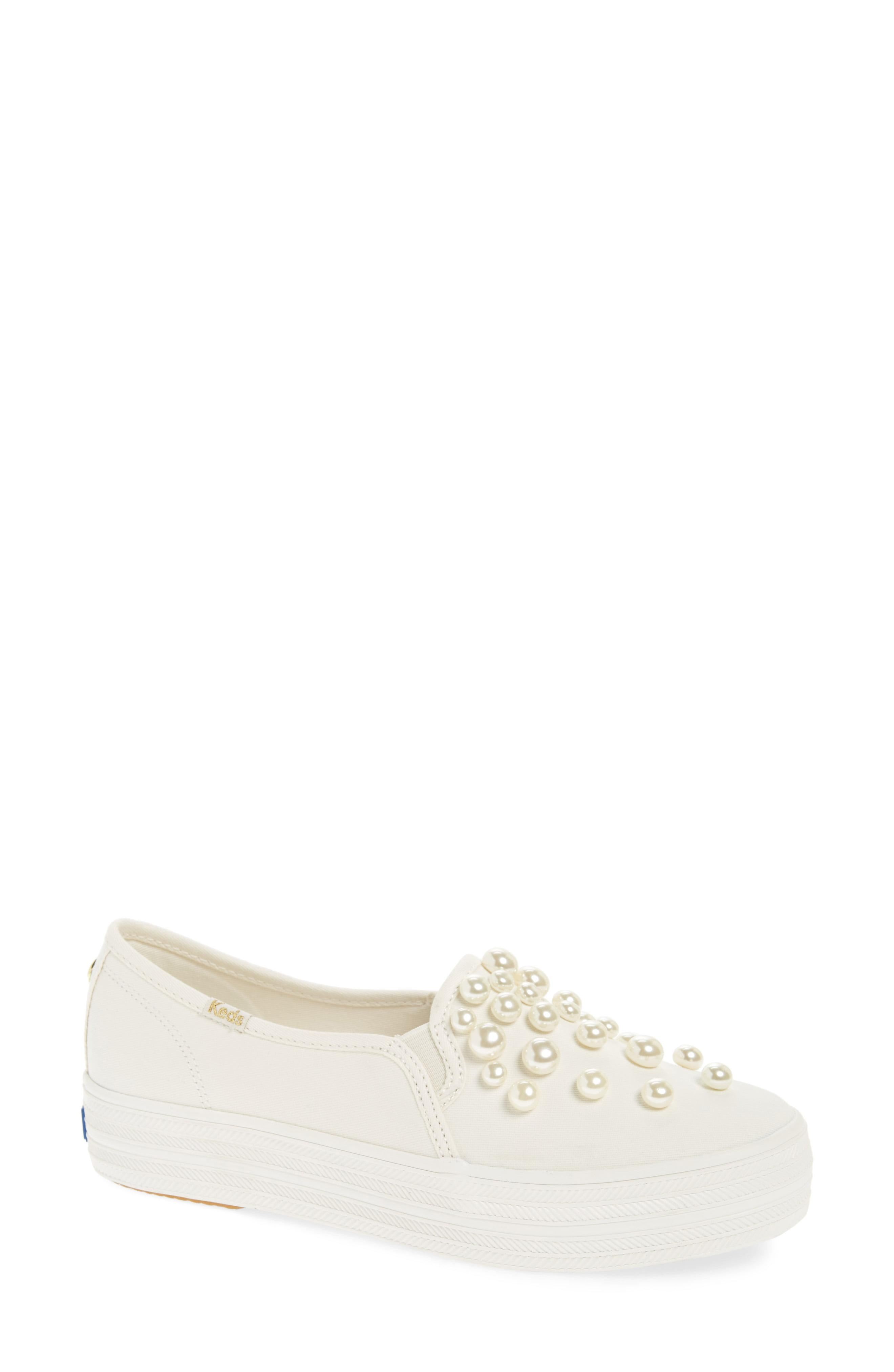 a6b3d398ce8 Kate Spade. Women s Natural Keds For Kate Spade New York Triple Decker  Embellished Slip-on Sneaker