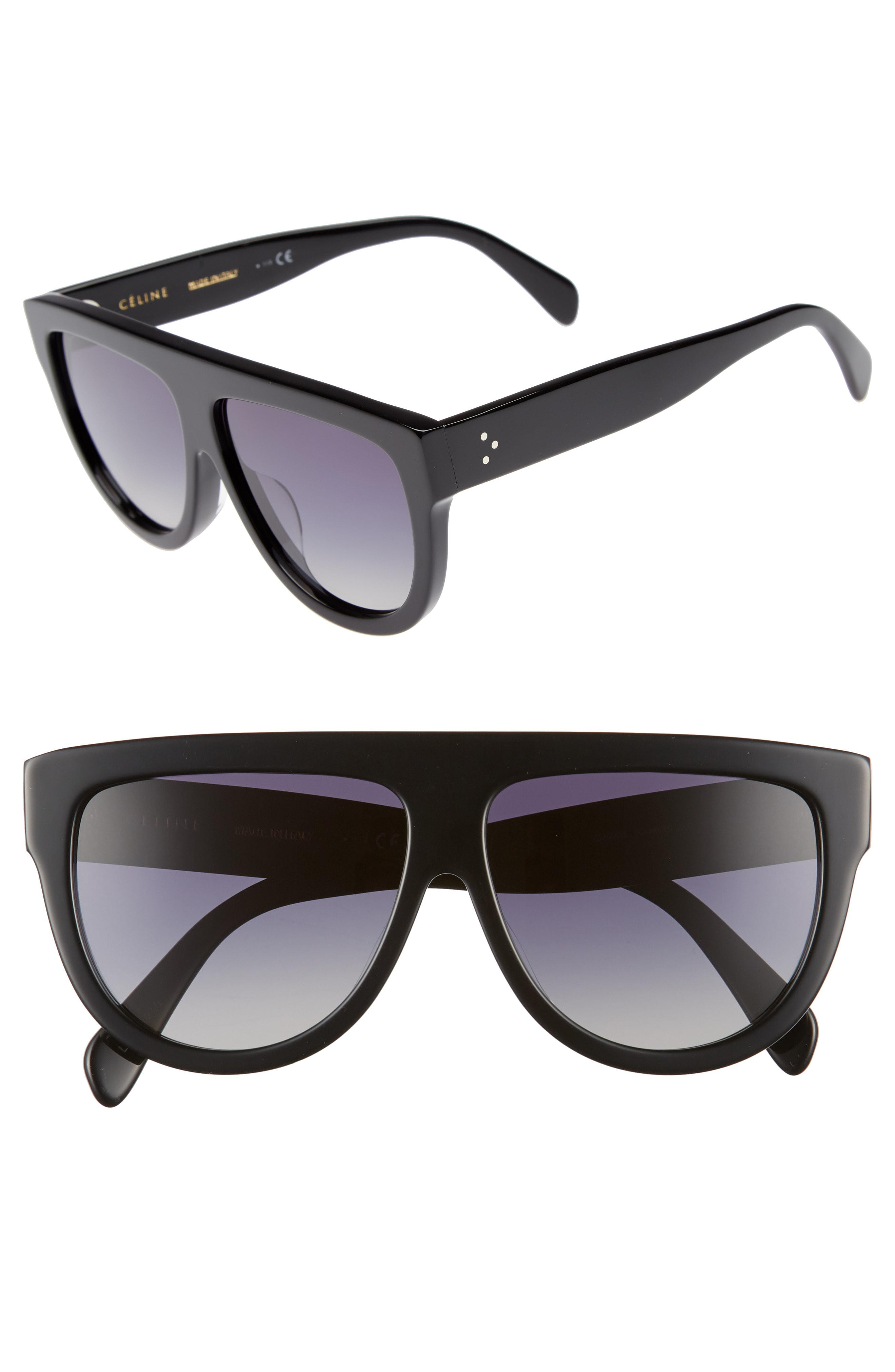 28ad5c81df Céline - Black Special Fit 60mm Polarized Gradient Flat Top Sunglasses -  Lyst. View fullscreen