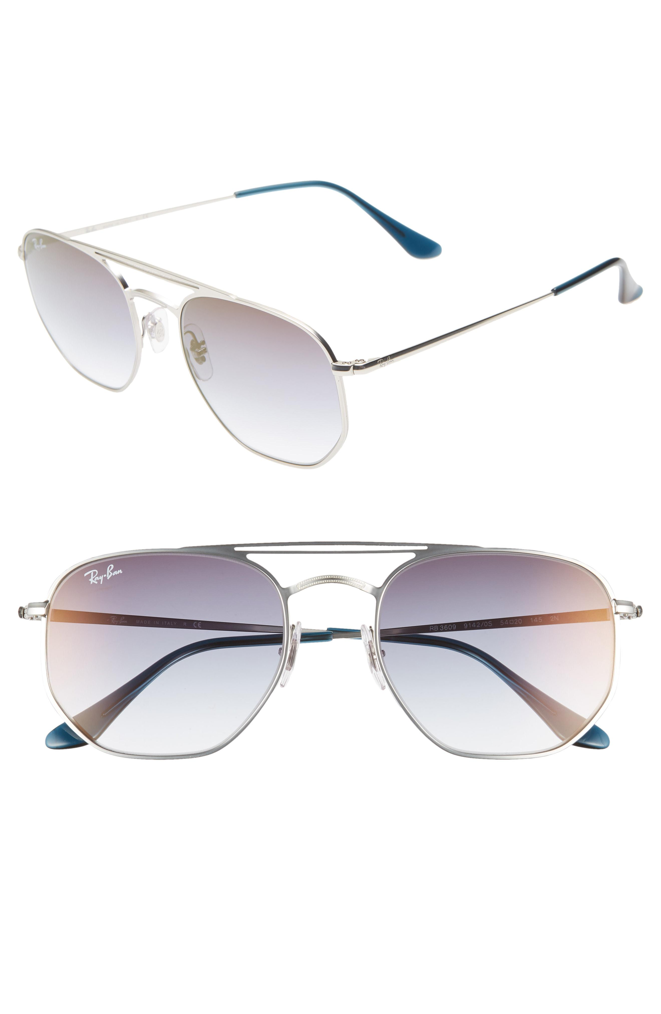 15f09bec9a Ray-Ban. Men s Metallic Navigator 54mm Double Bridge Sunglasses -  Transparent Blue