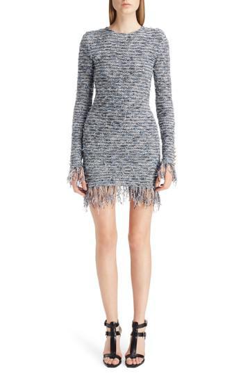 2962d6ec Balmain - Multicolor Fringe Tweed Minidress - Lyst