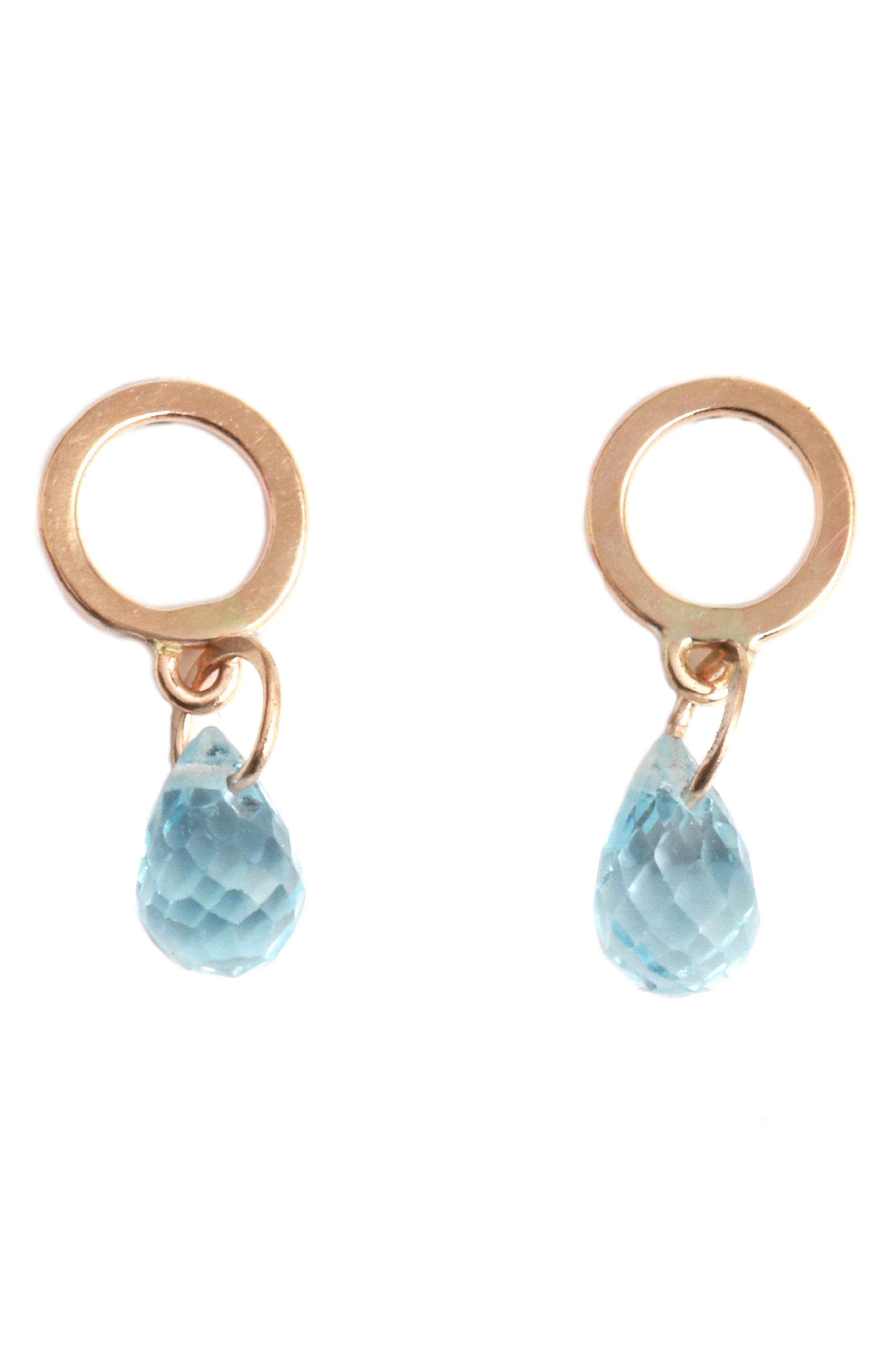 db4dce655 Lyst - Melissa Joy Manning Circle Stone Drop Earrings in Blue