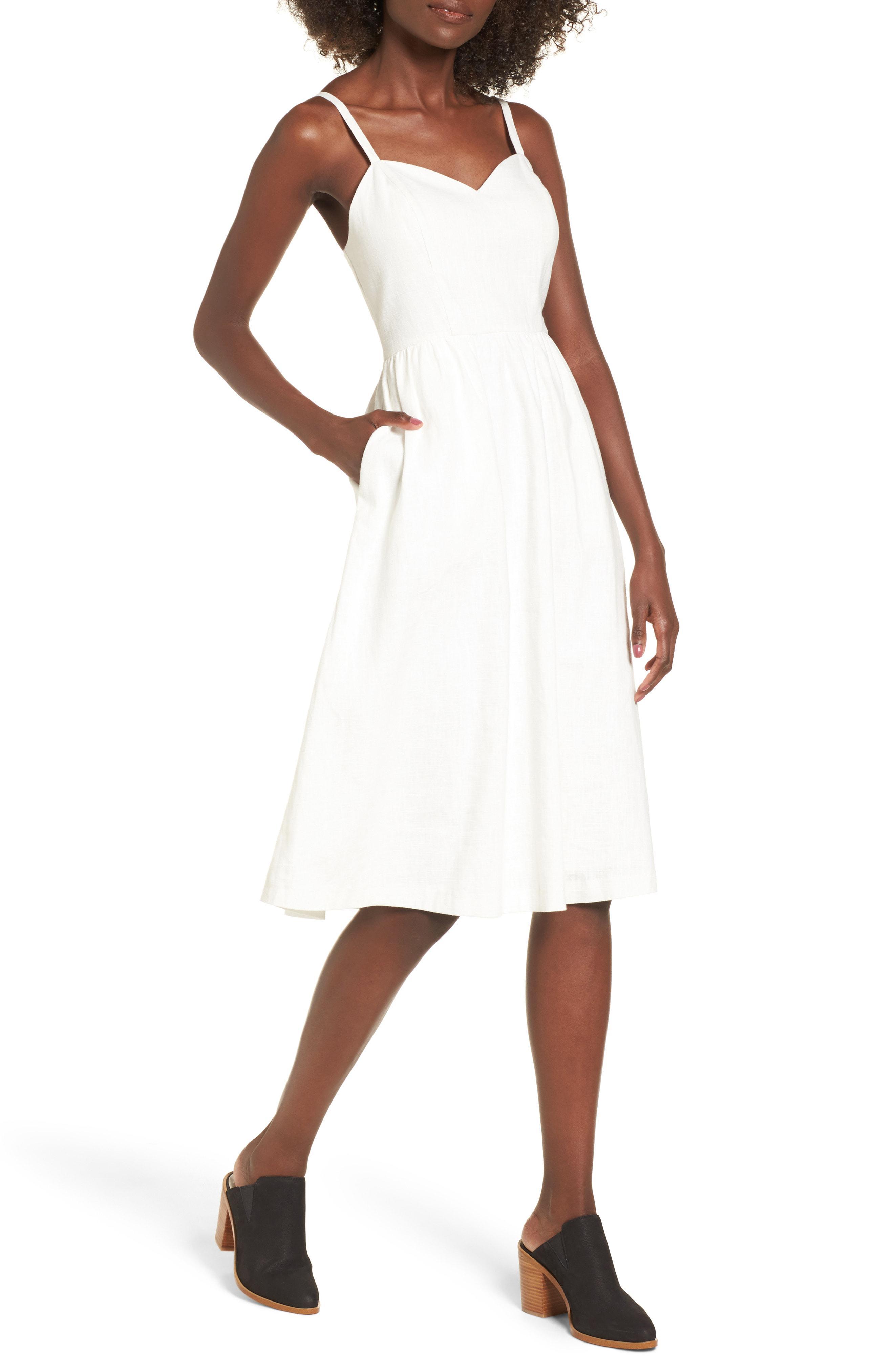 7a3991f397 Lyst - Moon River Cotton   Linen Ballerina Midi Dress in White