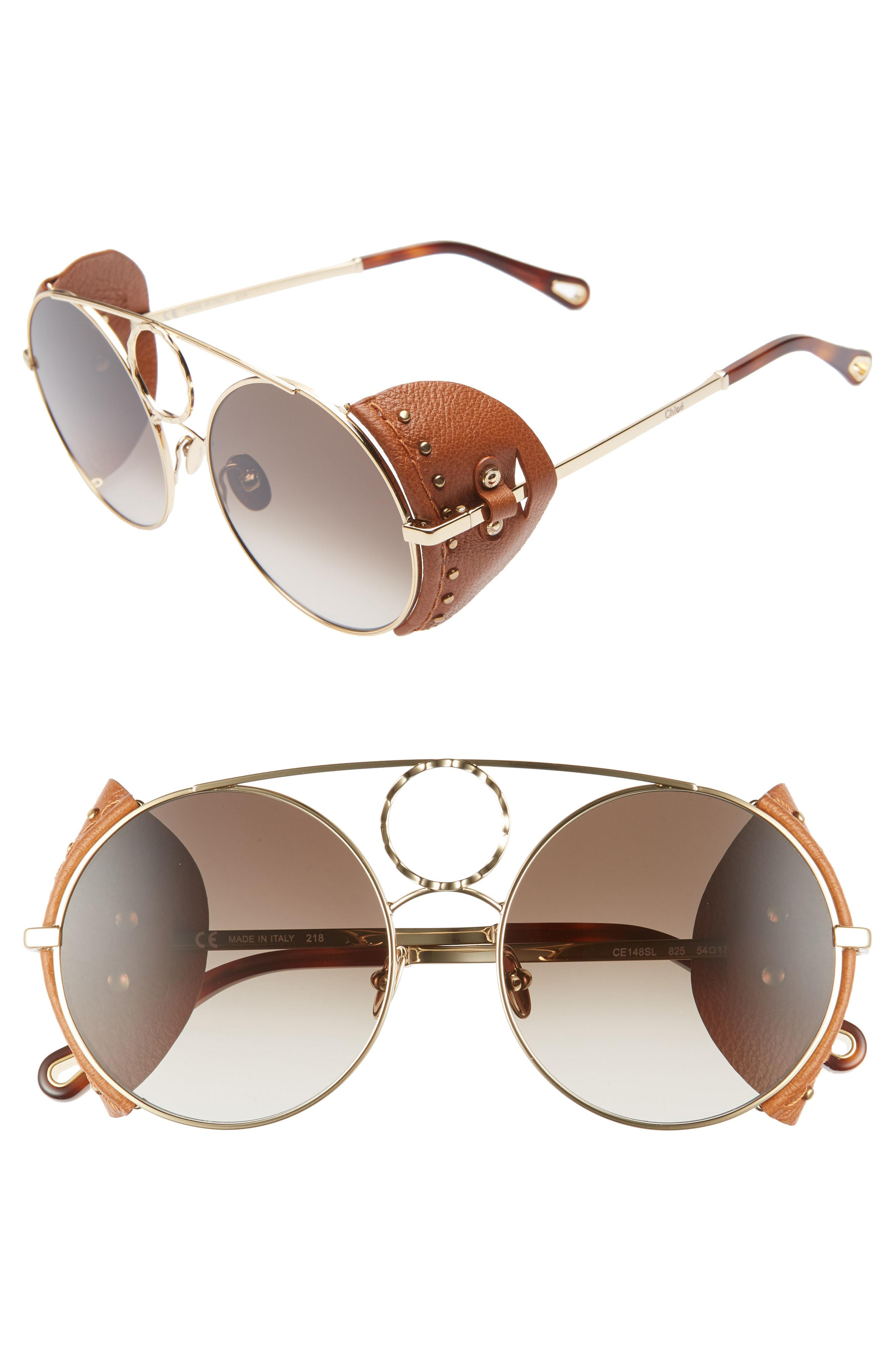 d88e127c78 Chloé 54mm Covered Leather Side Round Sunglasses in Metallic - Lyst