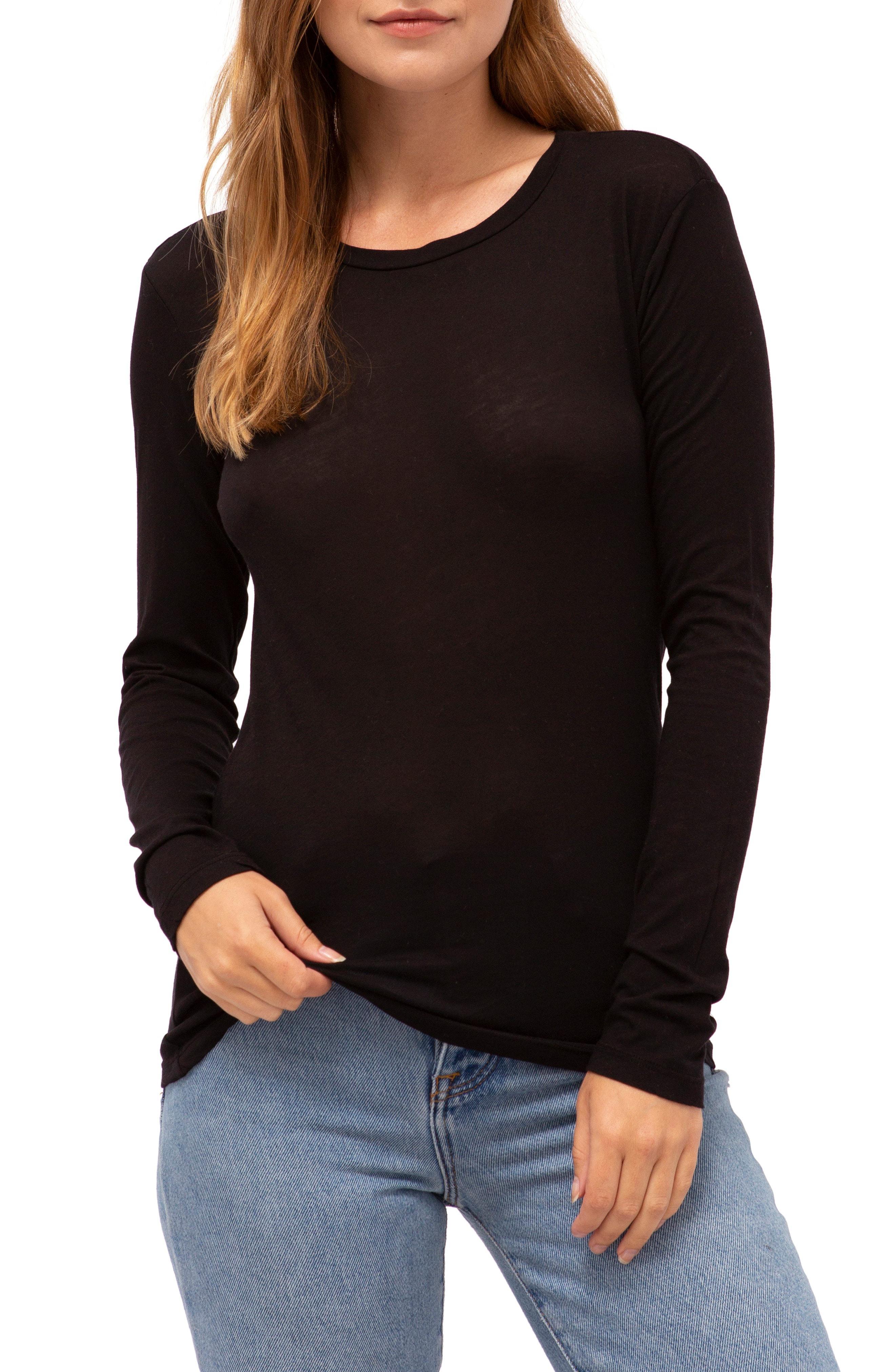 20dda7b6a Lyst - Stateside Long Sleeve Slub Cotton Tee in Black