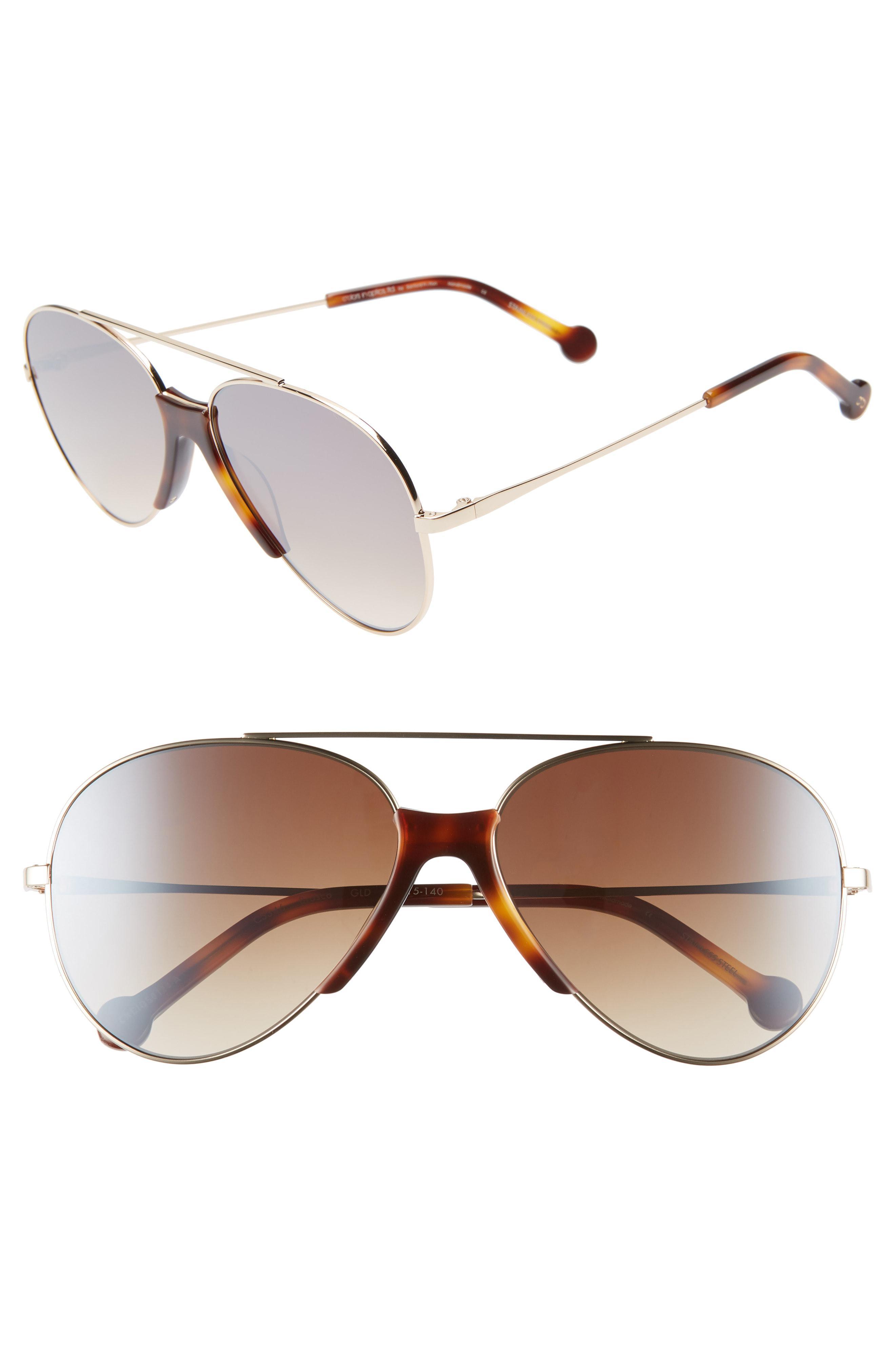 155adab6d5d Lyst - Colors In Optics Brasco 61mm Gradient Aviator Sunglasses in Brown