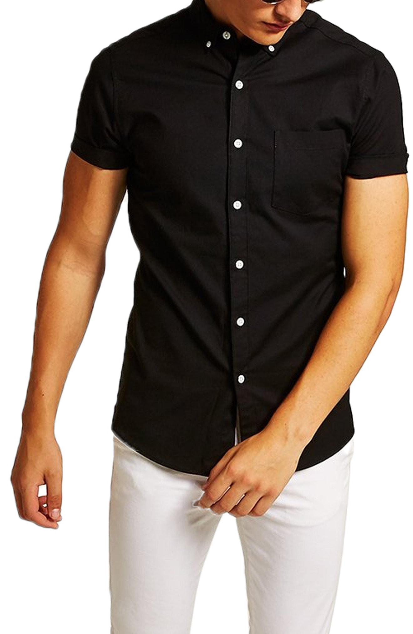 8aa215be3 Lyst - TOPMAN Muscle Fit Oxford Shirt in Black for Men