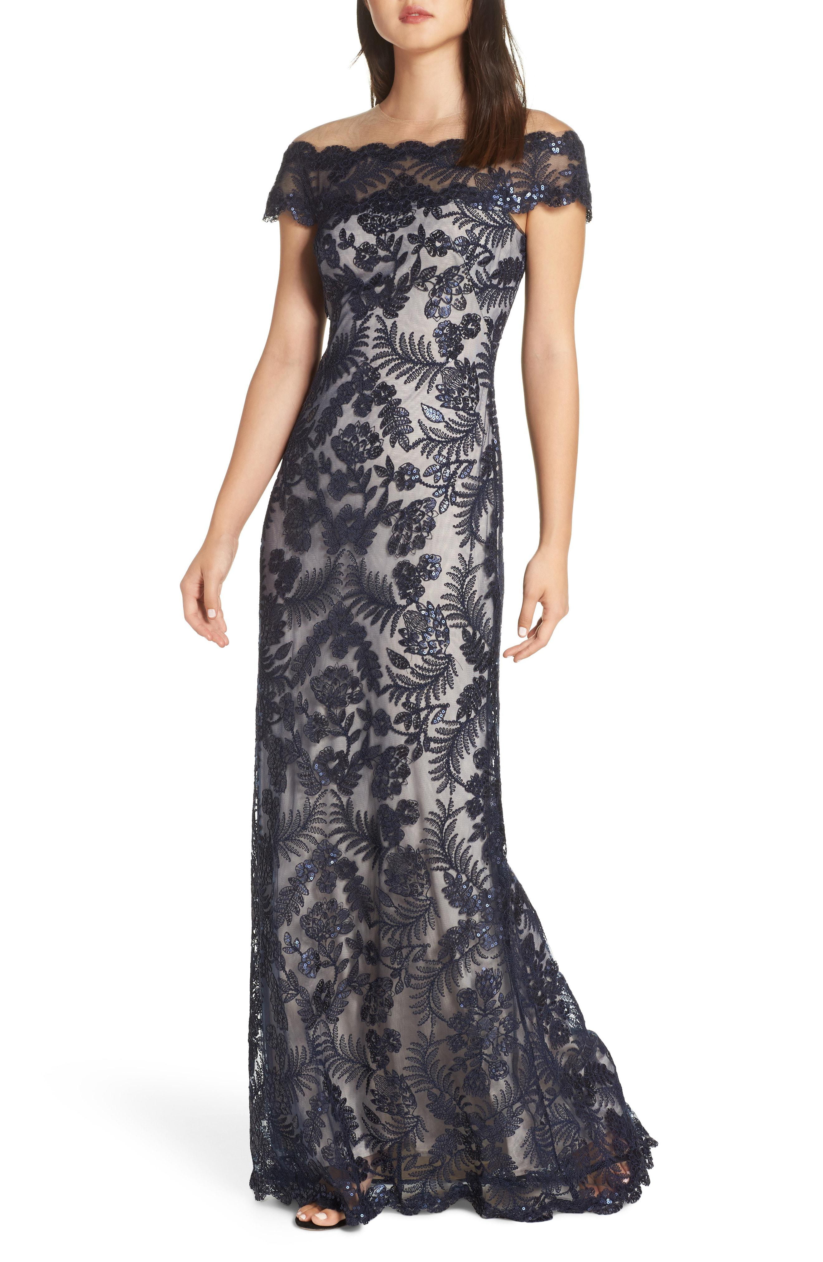 fd3c8f81 Lyst - Tadashi Shoji Illusion Neck Sequin Lace Gown in Blue
