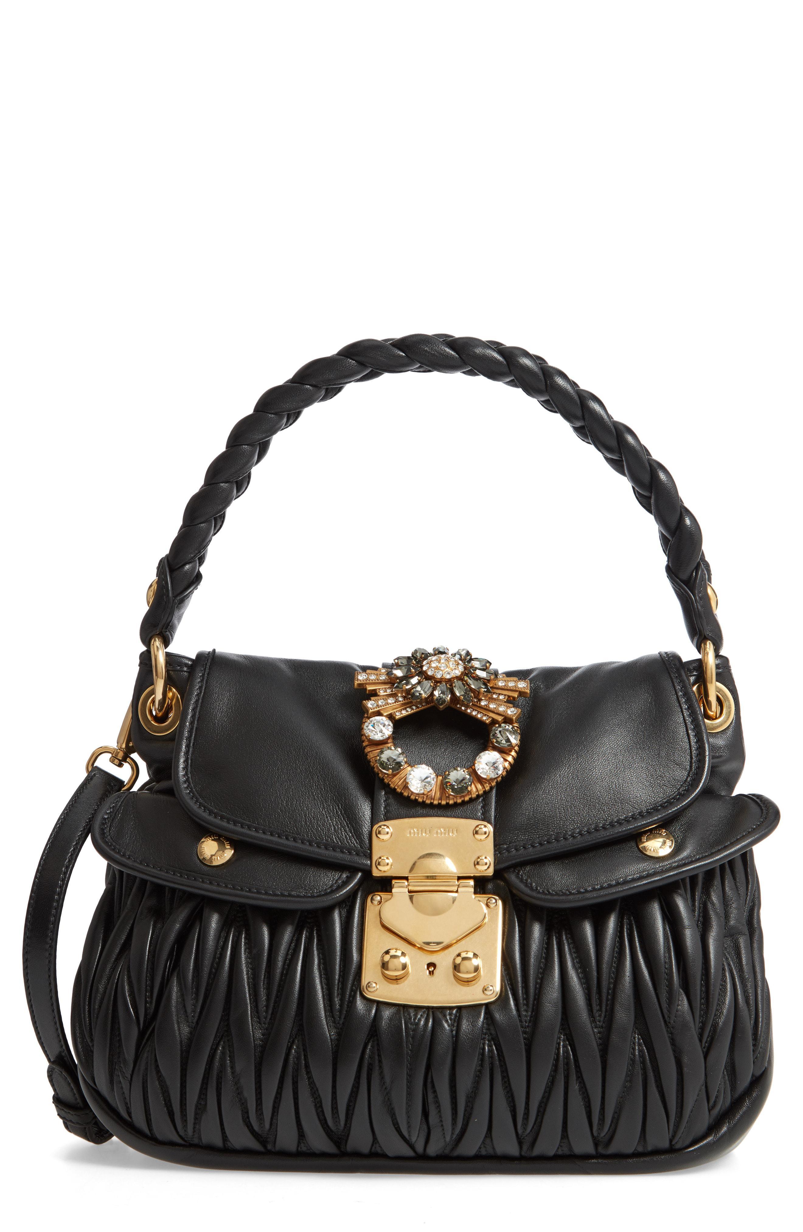 b6cfa152b20b Lyst - Miu Miu Matelasse Leather Shoulder Bag in Black