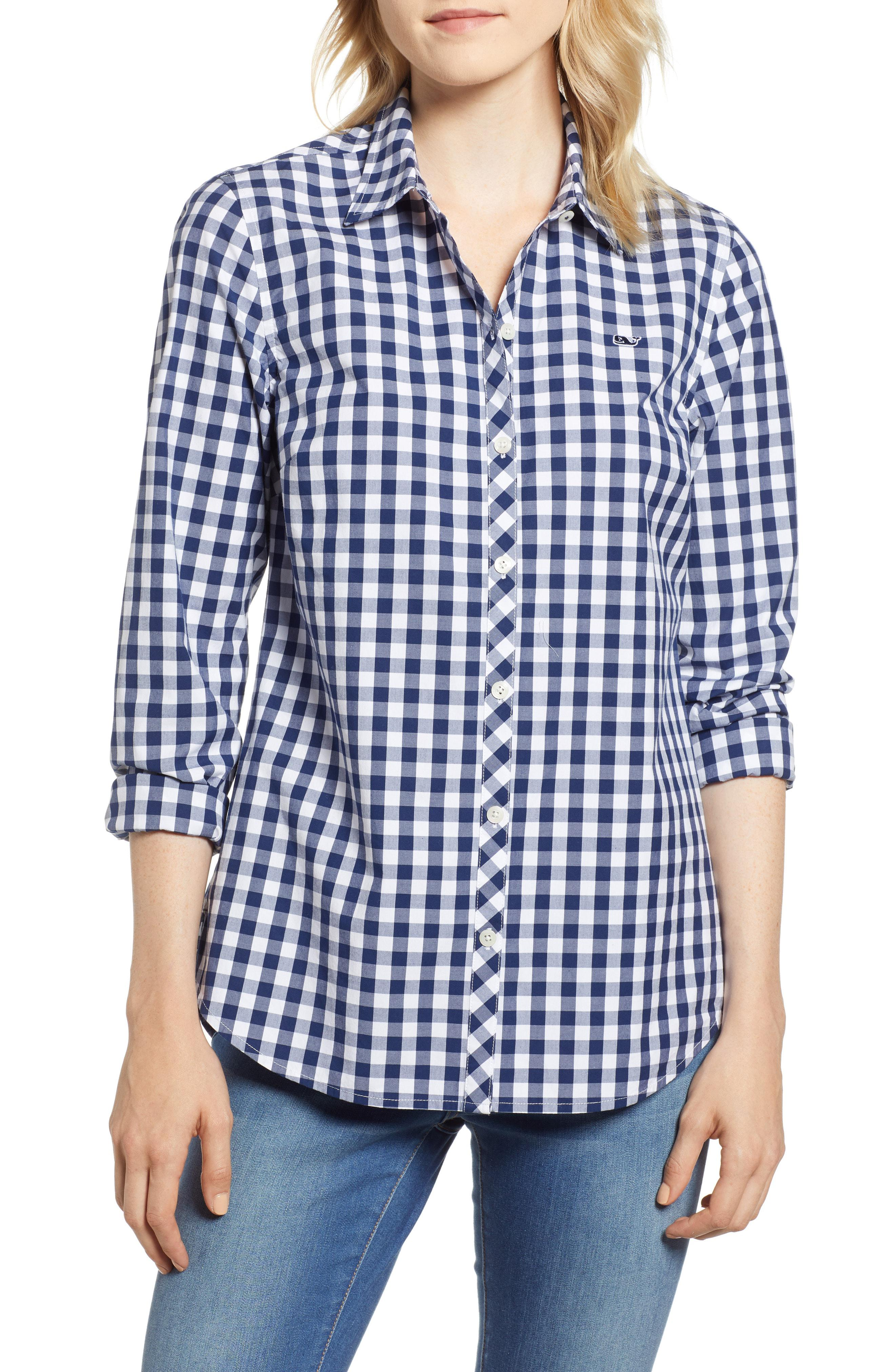 70c67aa7 Lyst - Vineyard Vines Mini Gingham Classic Button Down in Blue