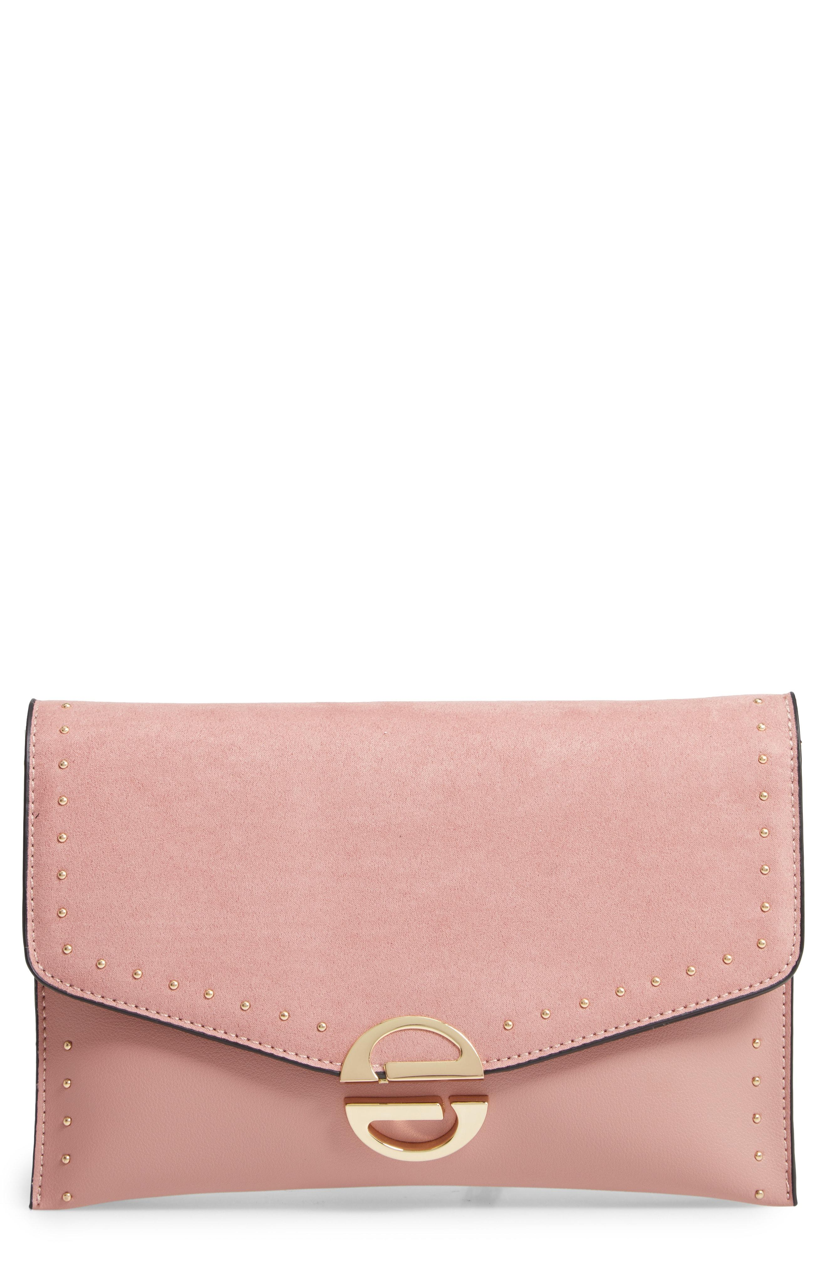 Lyst - TOPSHOP Candice Studded Faux Leather Clutch - in Pink c38c18bc6c003