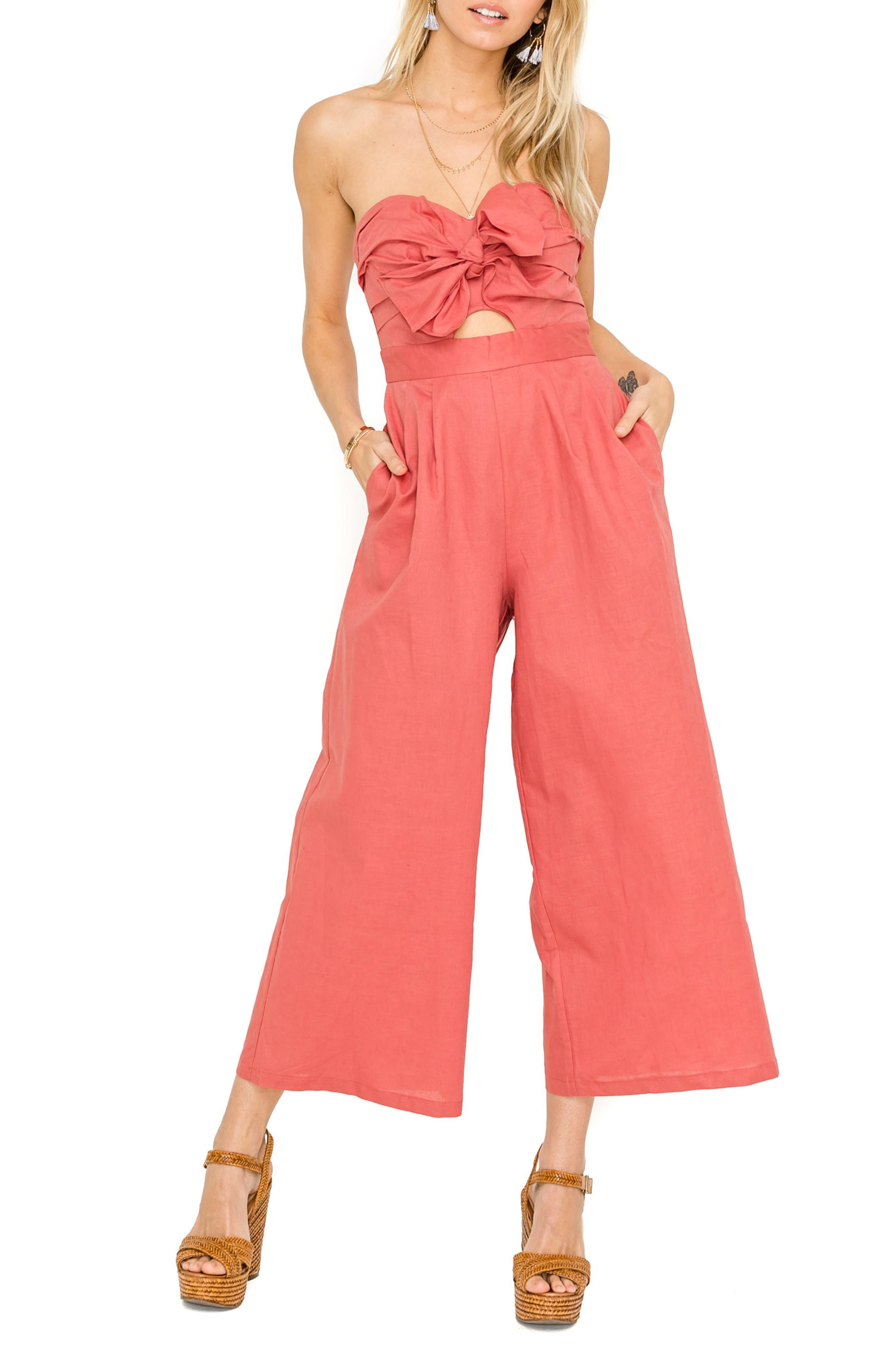 f43a65b9b83 Astr Mara Strapless Cotton   Linen Jumpsuit in Red - Lyst