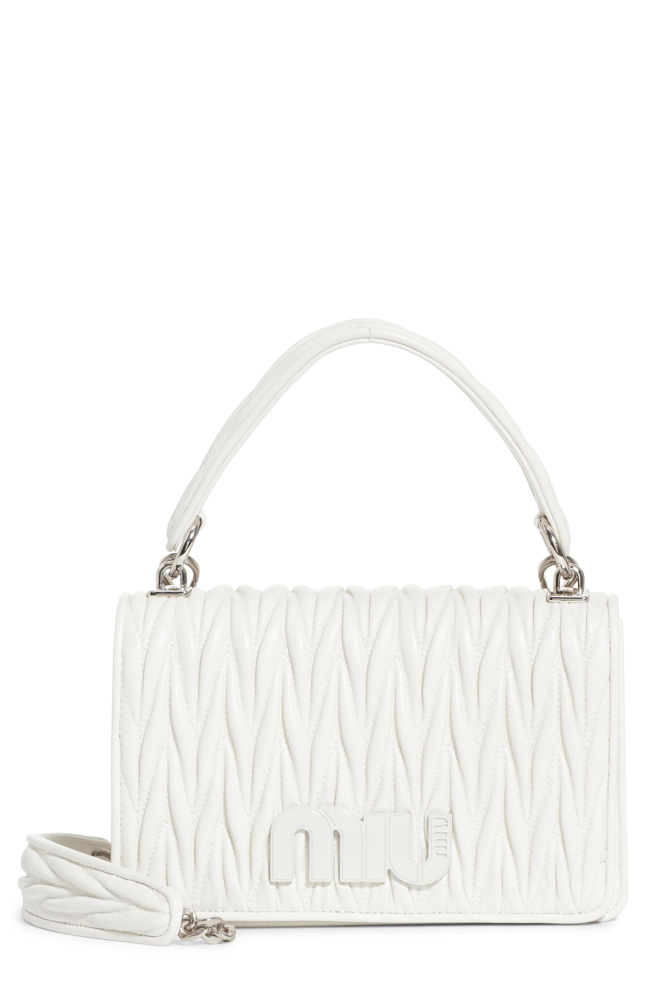 Lyst - Miu Miu Matelasse Quilted Lambskin Leather Top Handle Bag in ... 4b8a3cc870b34